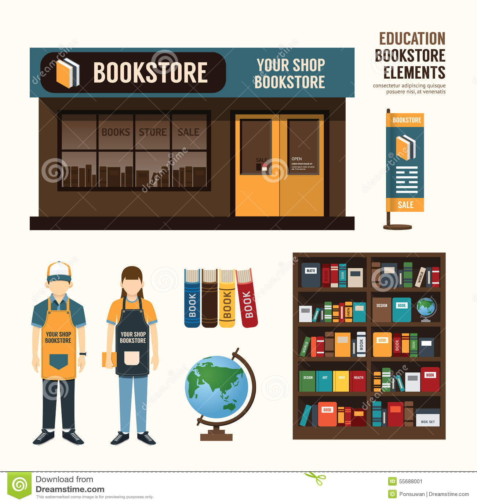 Wektorowego bookstore ustalony projekt, sklepowy sklep, pakunek, koszulka, nakrętka,