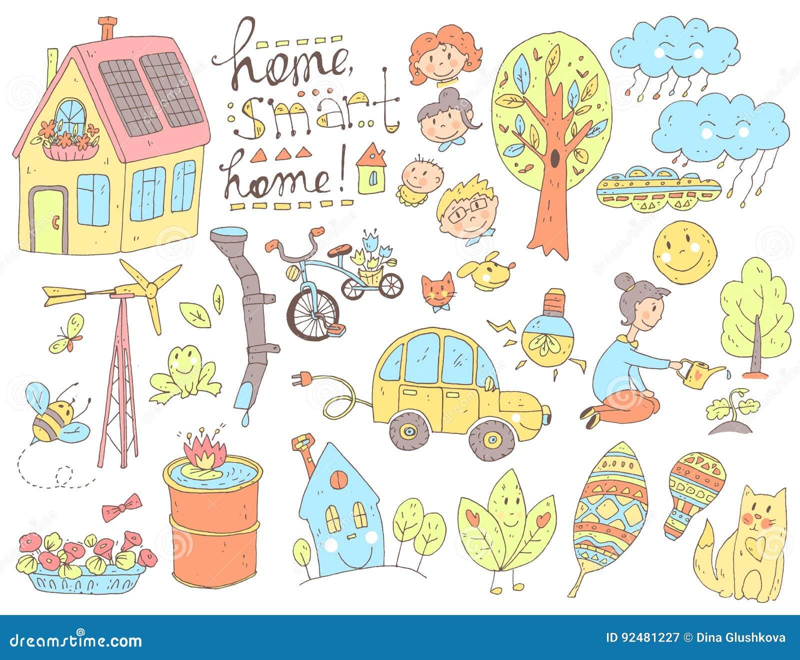 Wektorowego doodle śliczna kolekcja ekologia i rodzina Natura, alt