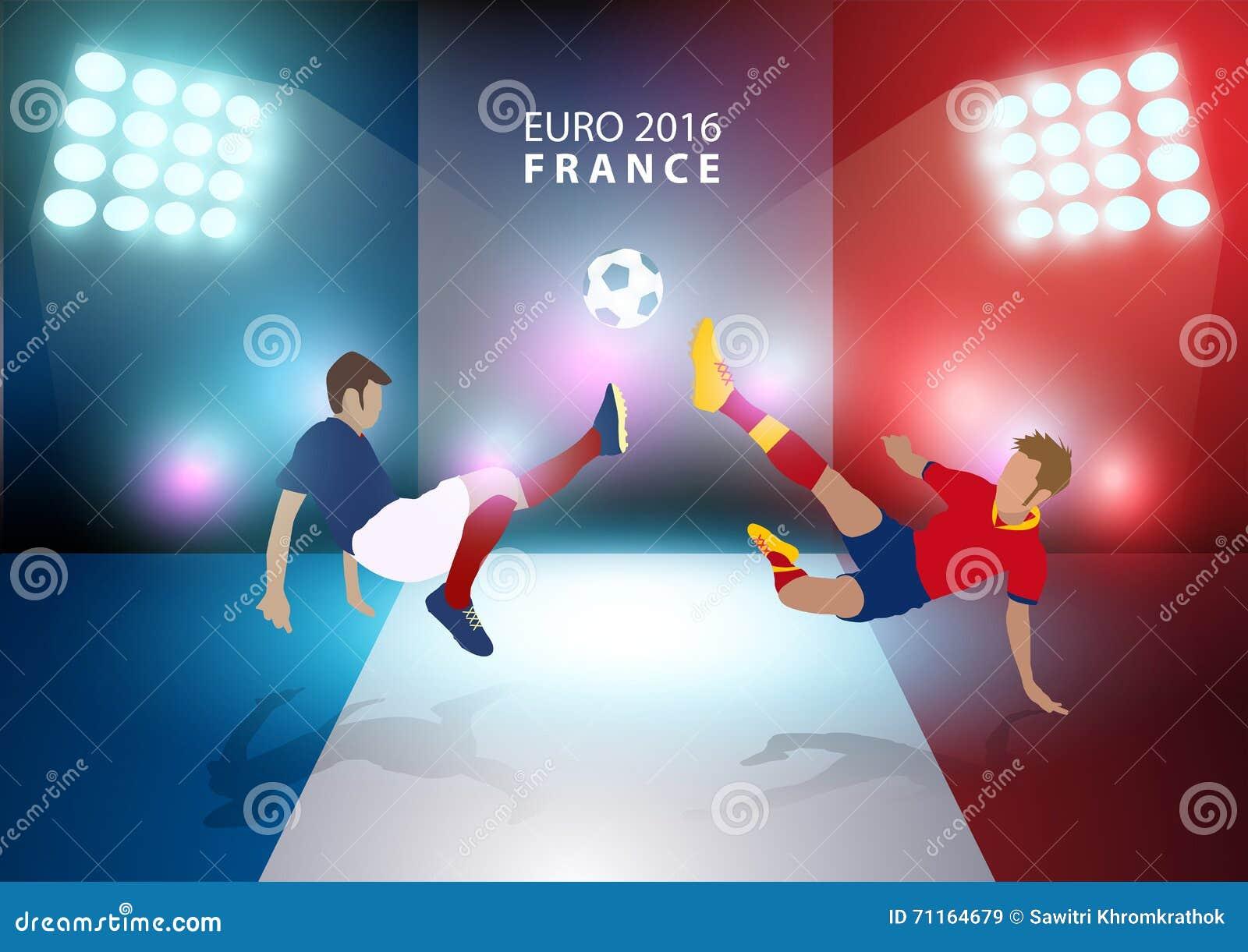 Wektorowego euro Francja 2016 futbolowy mistrzostwo z graczami piłki nożnej