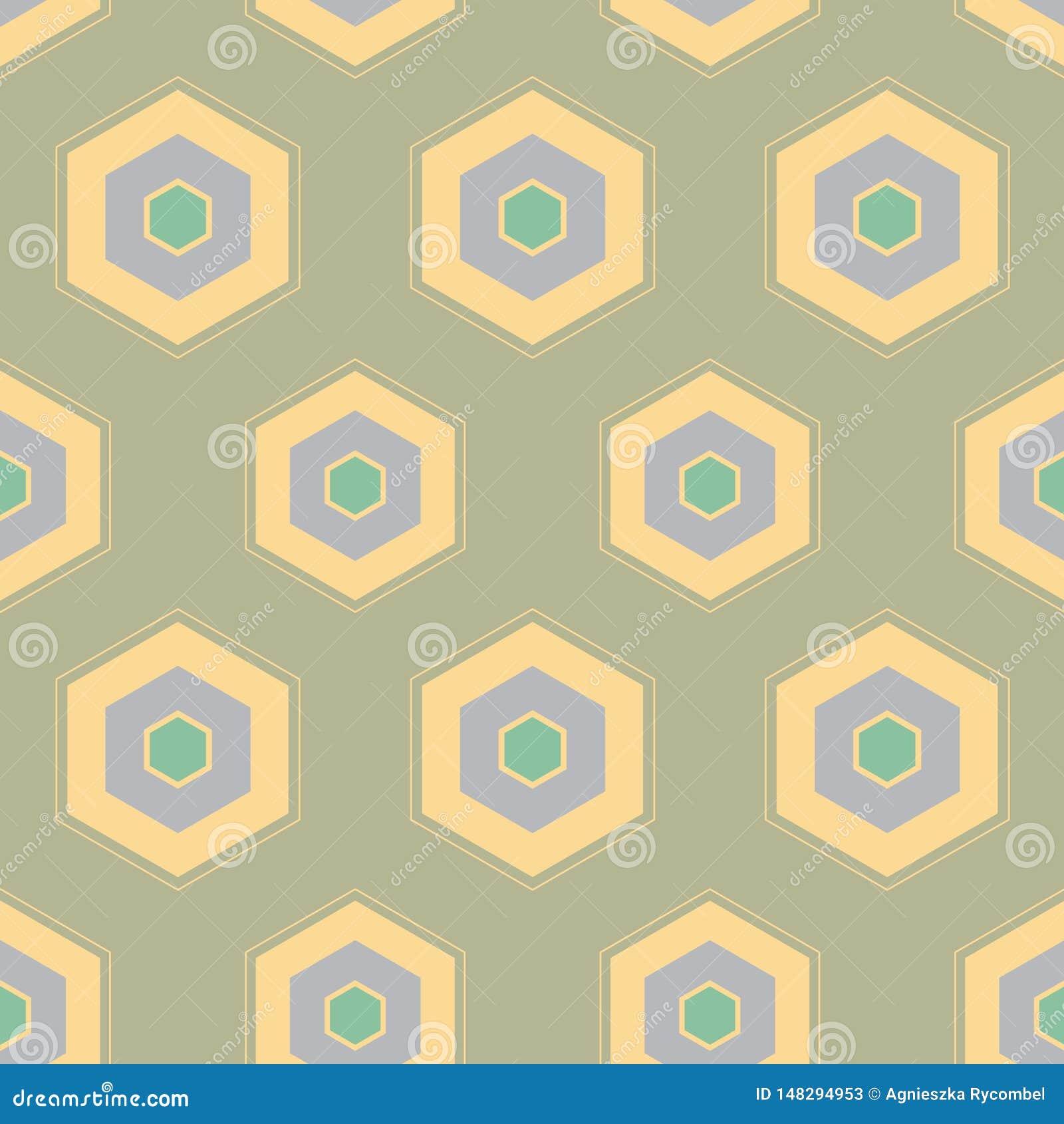 Wektorowego HoneyComb Geometrical projekta Abstrakcjonistyczny bezszwowy deseniowy tło