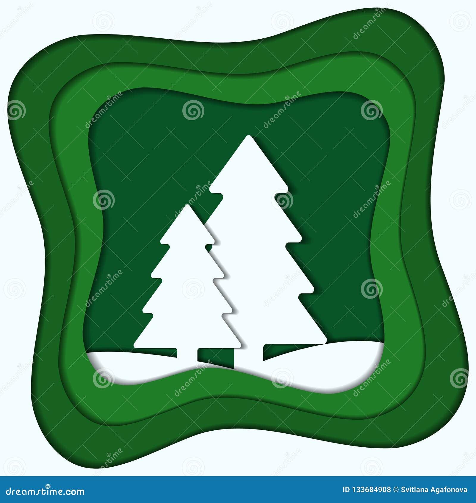 Wektorowego kolorowego papieru rżnięta ilustracja zima lasu papier a