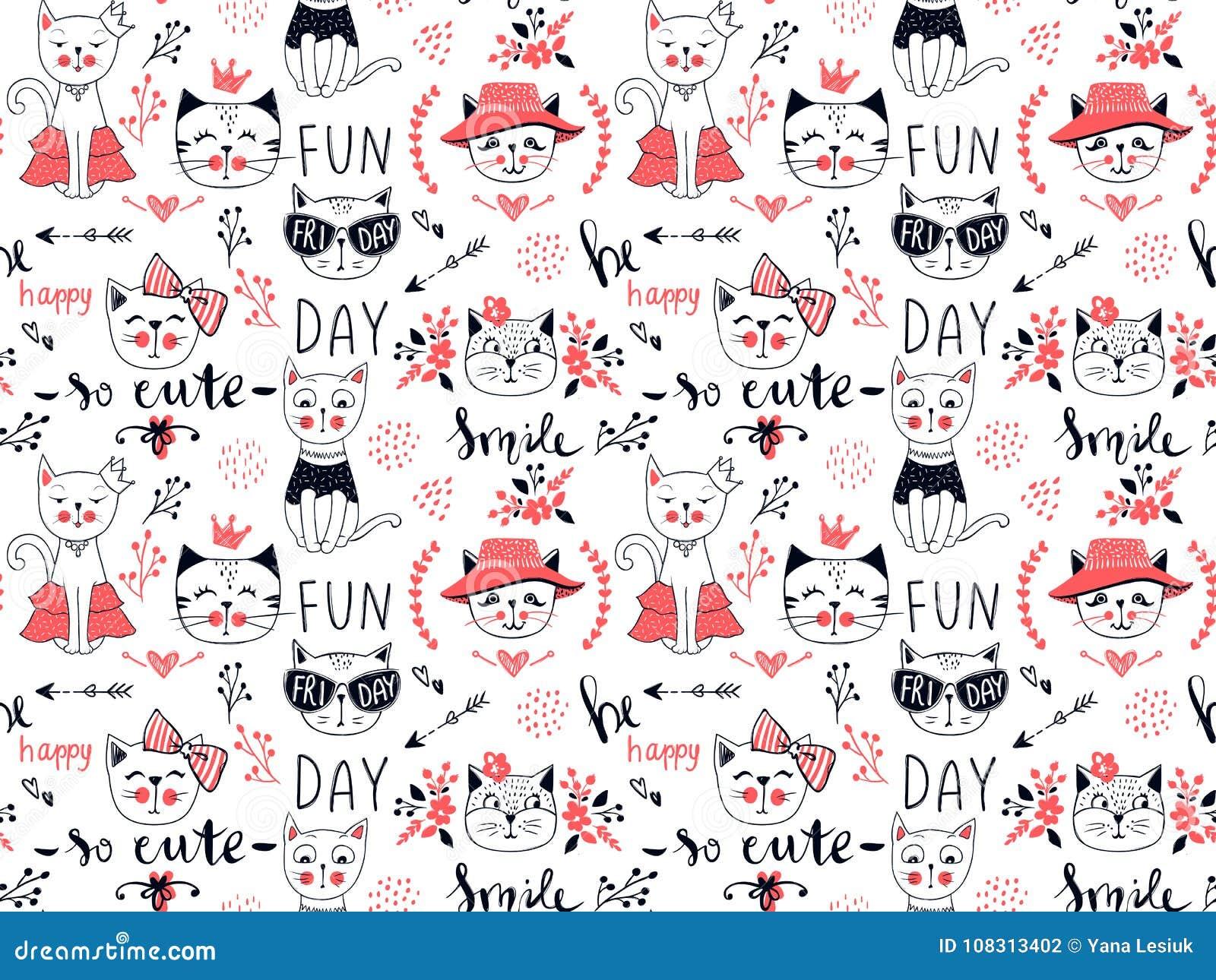 Wektorowego moda kota bezszwowy wzór Śliczna figlarki ilustracja wewnątrz