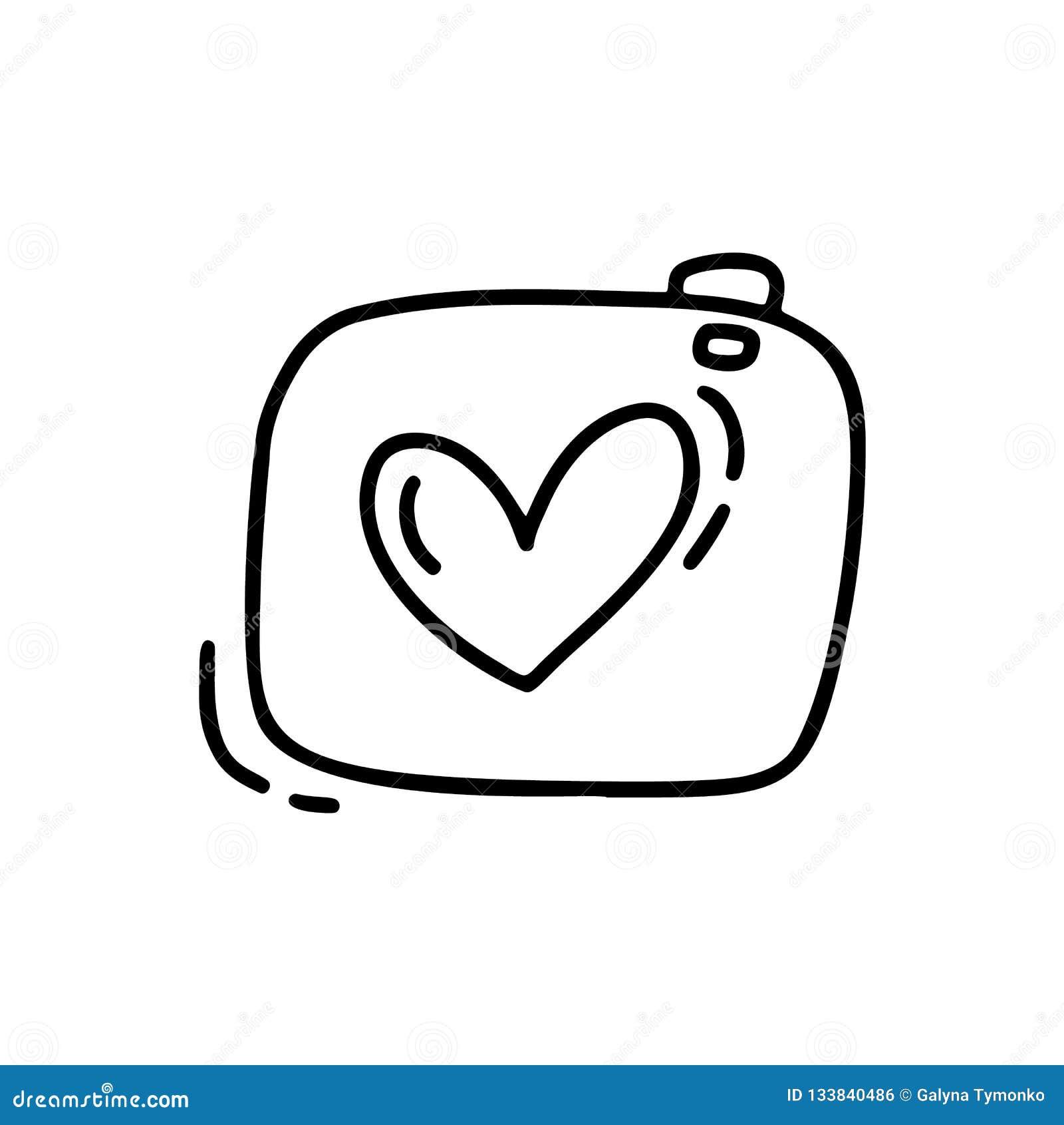 Wektorowego monoline śliczna kamera Walentynka dnia ręka Rysująca ikona Wakacyjny nakreślenia doodle projekta elementu valentine