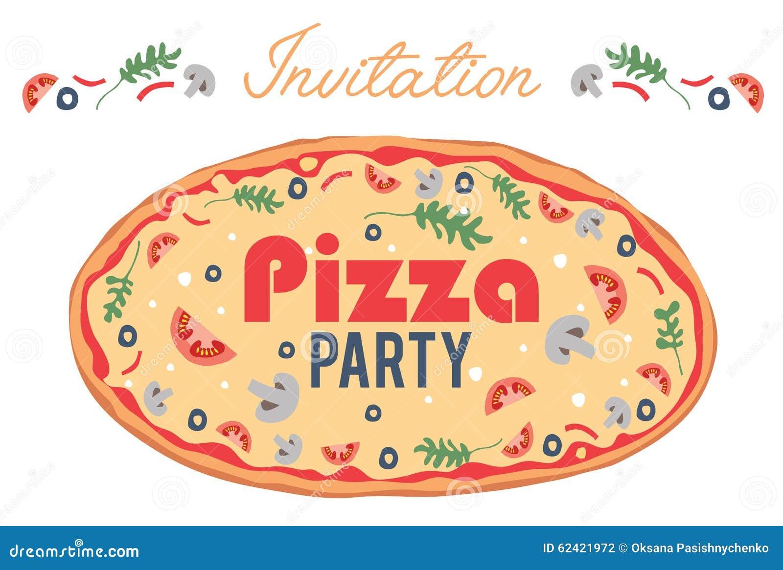 Wektorowego pizzy przyjęcia zaproszenia ulotki Plakatowa karta