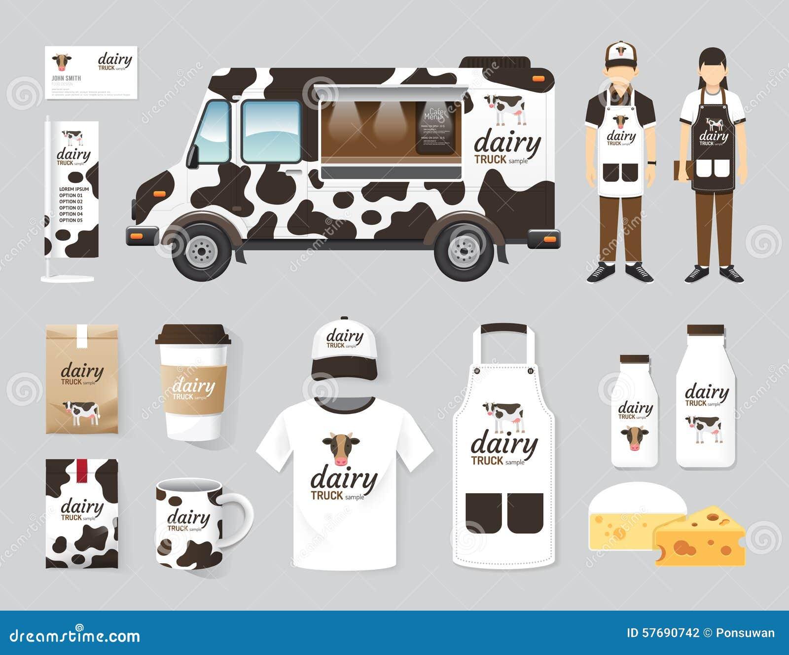 Wektorowego restauracyjnego cukiernianego projekta nabiału jedzenia ciężarówki ustalony uliczny sklep,
