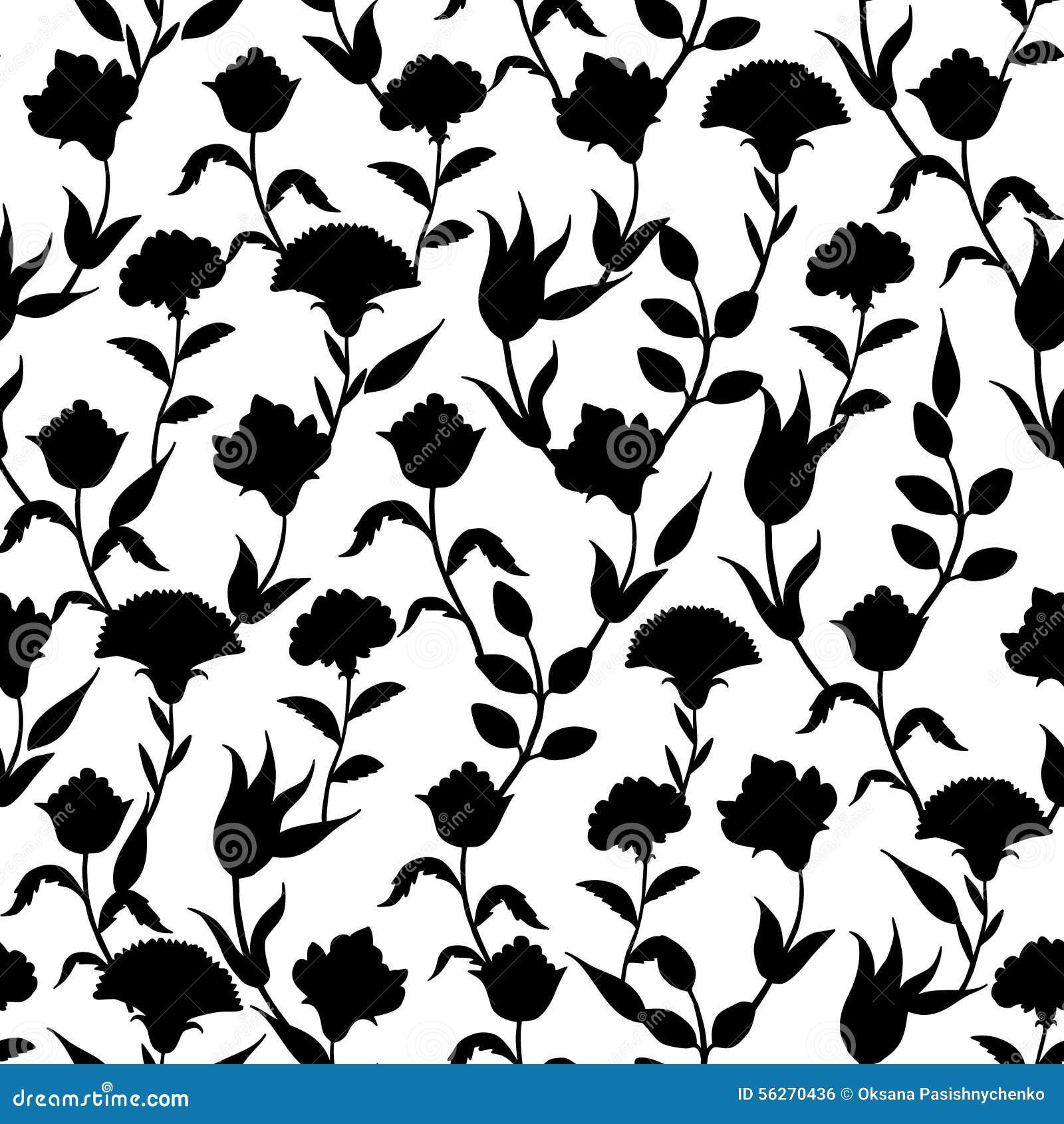 Wektorowego sylwetki czerni turecczyzny Biali kwiaty