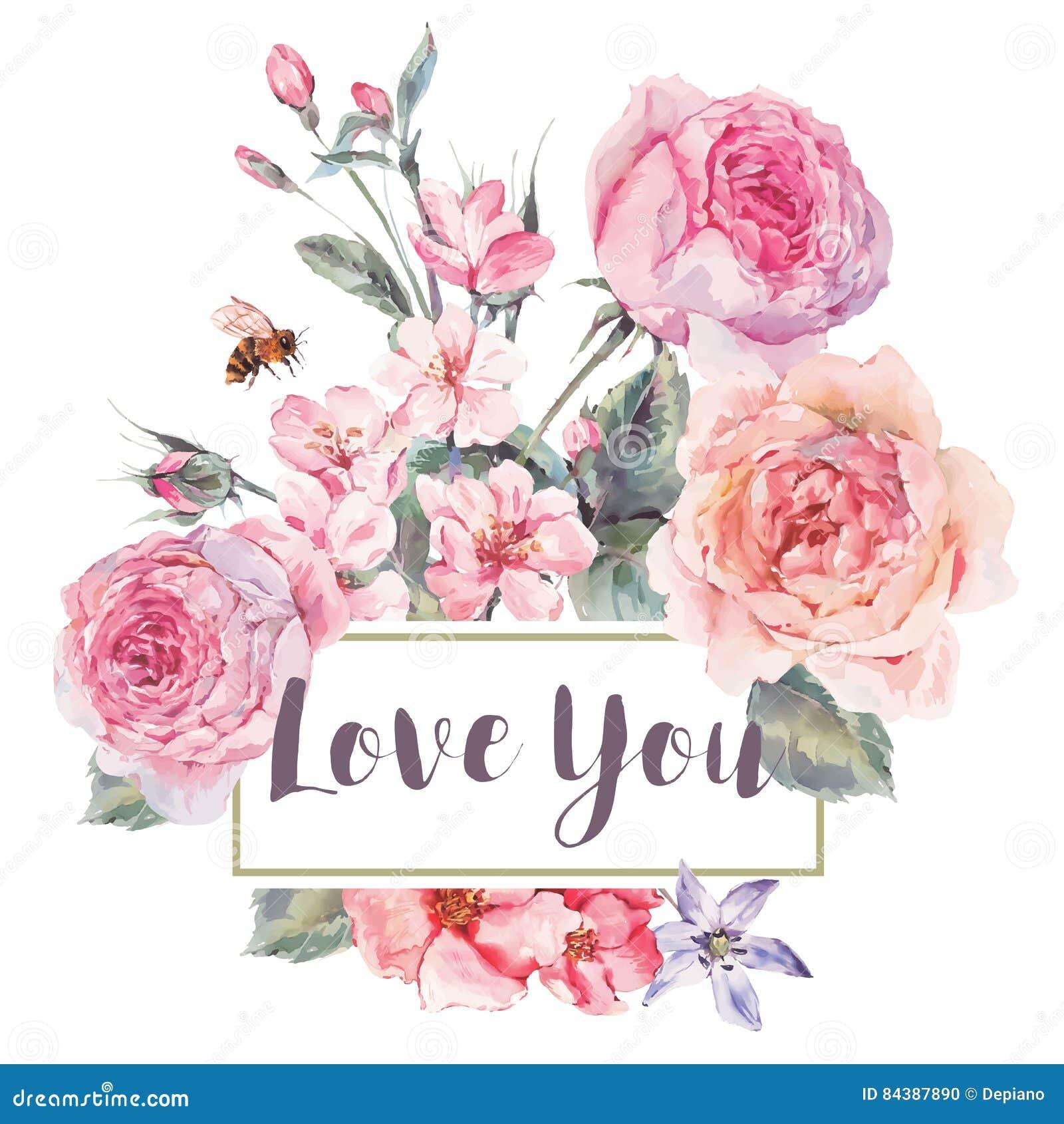 Wektorowego wiosna rocznika kwiecisty kartka z pozdrowieniami z bukietem róże