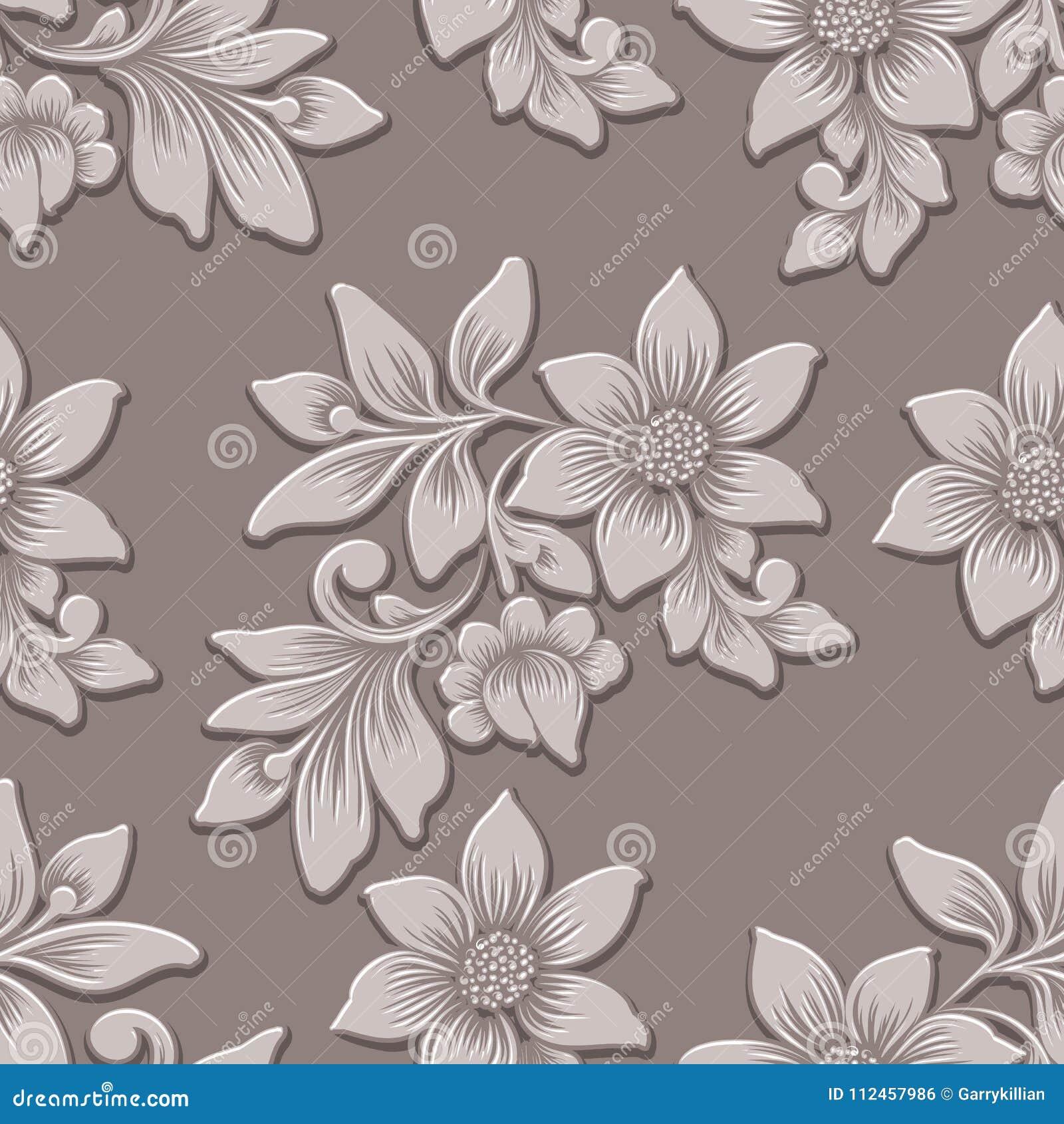 Wektorowego wolumetrycznego kwiatu bezszwowy deseniowy element Elegancki luksus embossed teksturę dla tło, bezszwowa tekstura dla