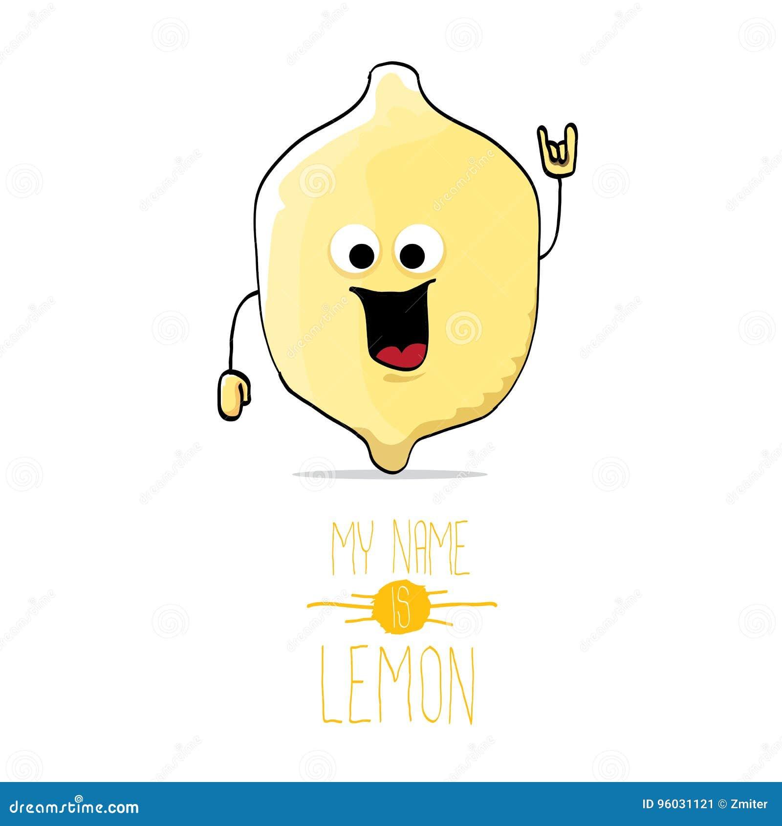Wektorowej śmiesznej kreskówki śliczna żółta cytryna