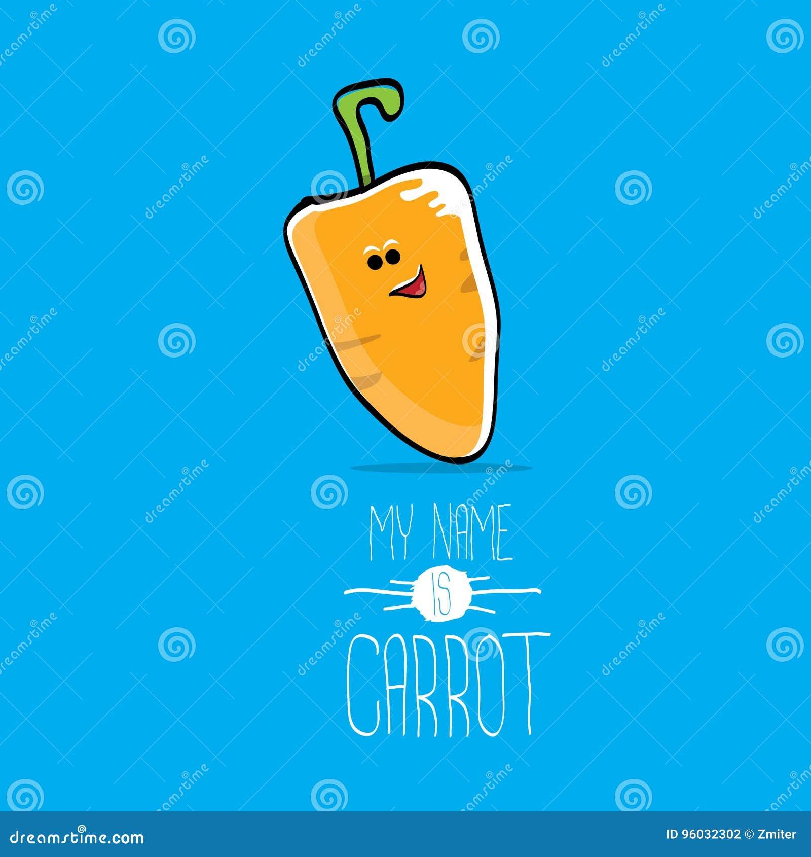 Wektorowej śmiesznej kreskówki pomarańczowy marchwiany charakter