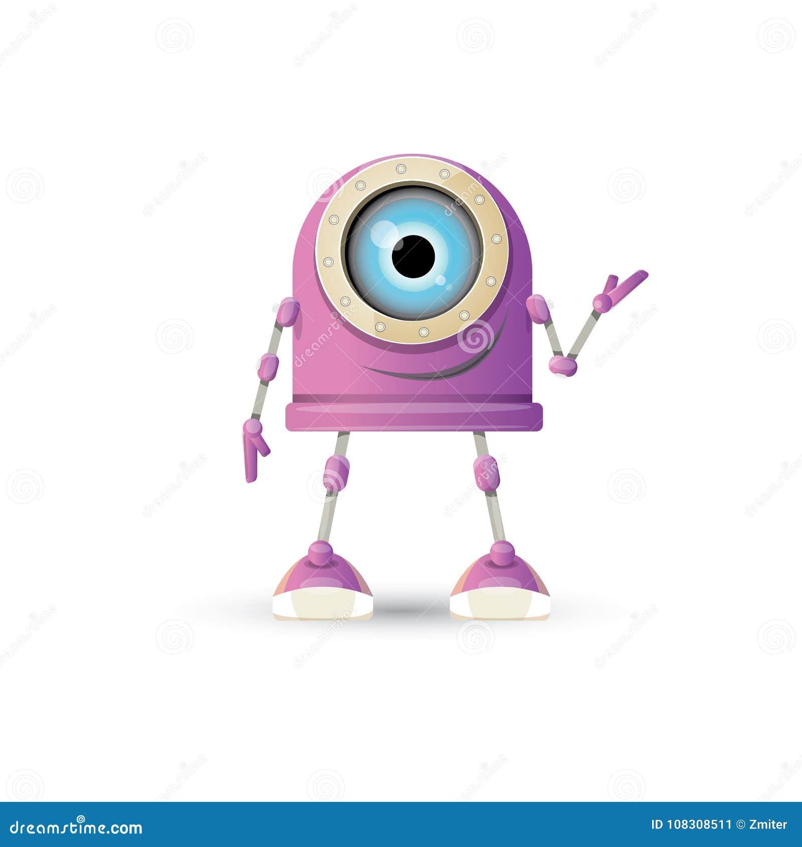 Wektorowej śmiesznej kreskówki robota purpurowy życzliwy charakter odizolowywający na białym tle Dzieciaków 3d robota zabawka Gad
