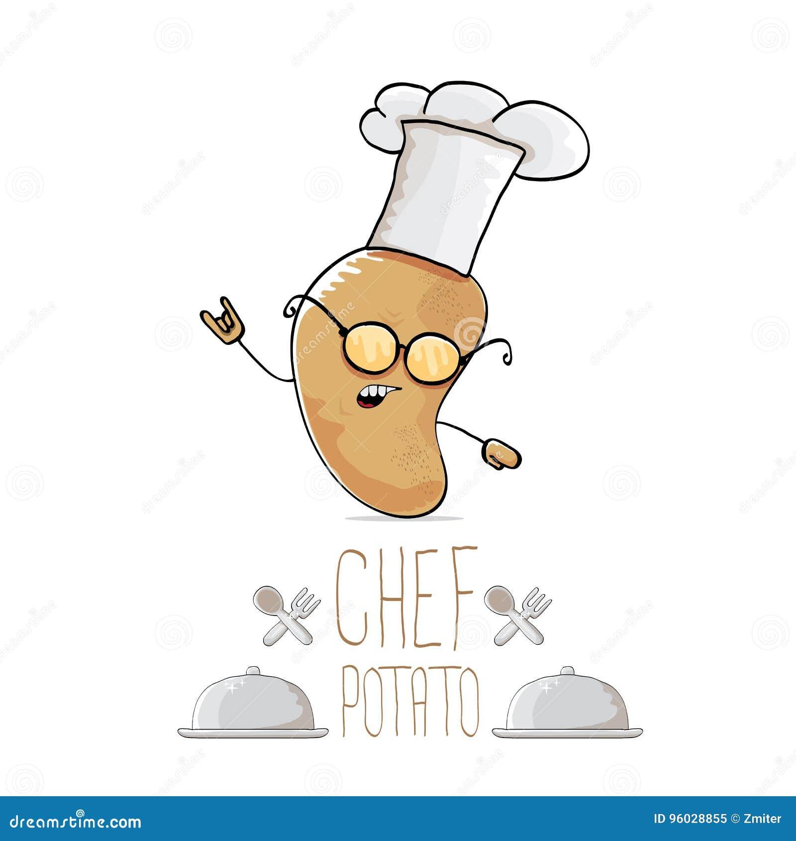 Wektorowej śmiesznej kreskówki szefa kuchni śliczna brown grula