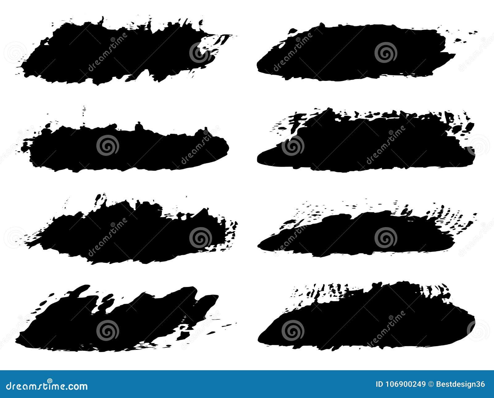 Wektorowej grungy czarnej farby ręcznie robiony kreatywnie muśnięcie