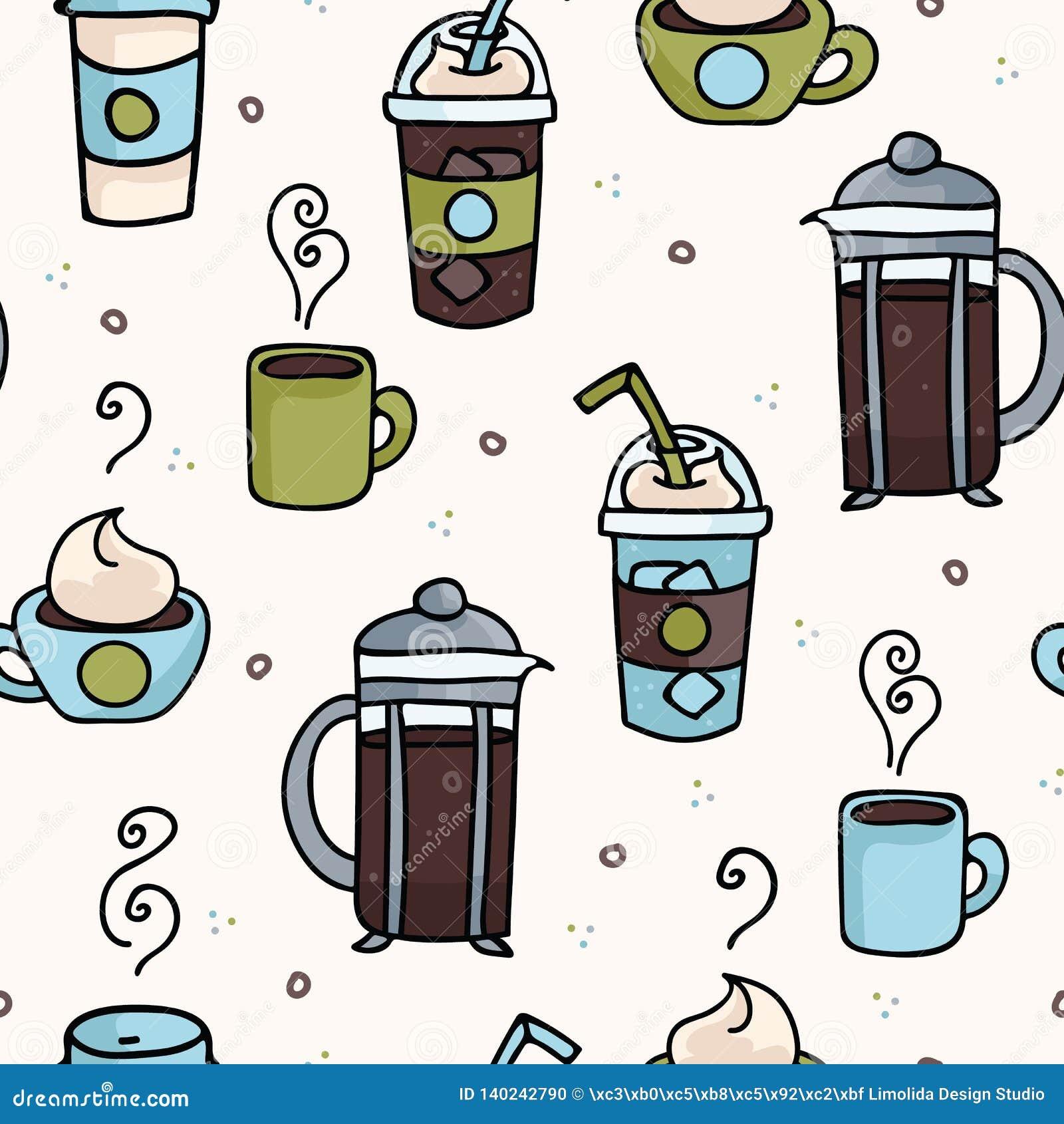 Wektorowej kawowej bezszwowej powtórka wzoru ilustracji różna kofeina pije
