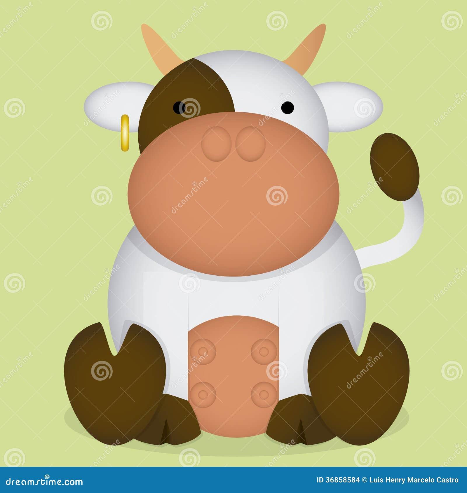 Wektorowej kreskówki Śliczna Biała Mała krowa Odizolowywająca