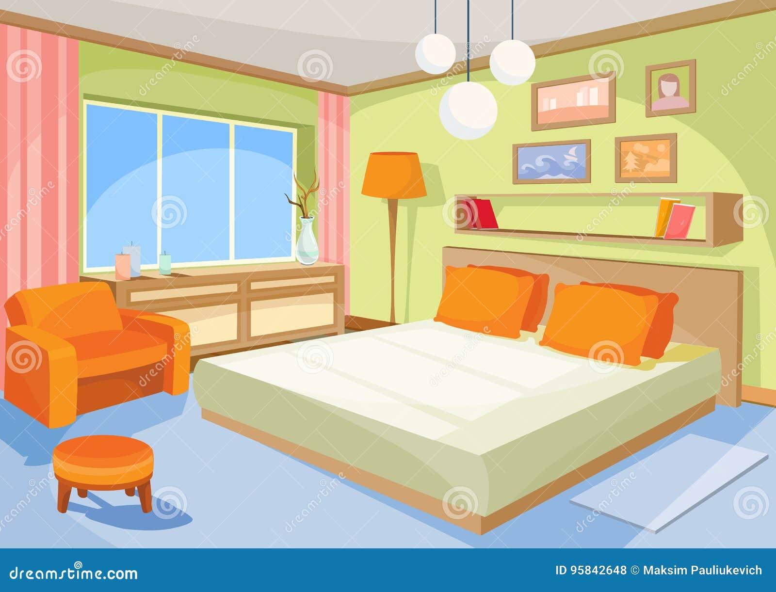 Wektorowej kreskówki ilustracyjna wewnętrzna błękitna sypialnia, żywy pokój z łóżkiem, miękki krzesło
