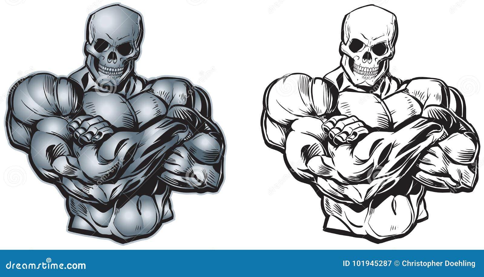 Wektorowej kreskówki Mięśniowa półpostać z czaszki głową