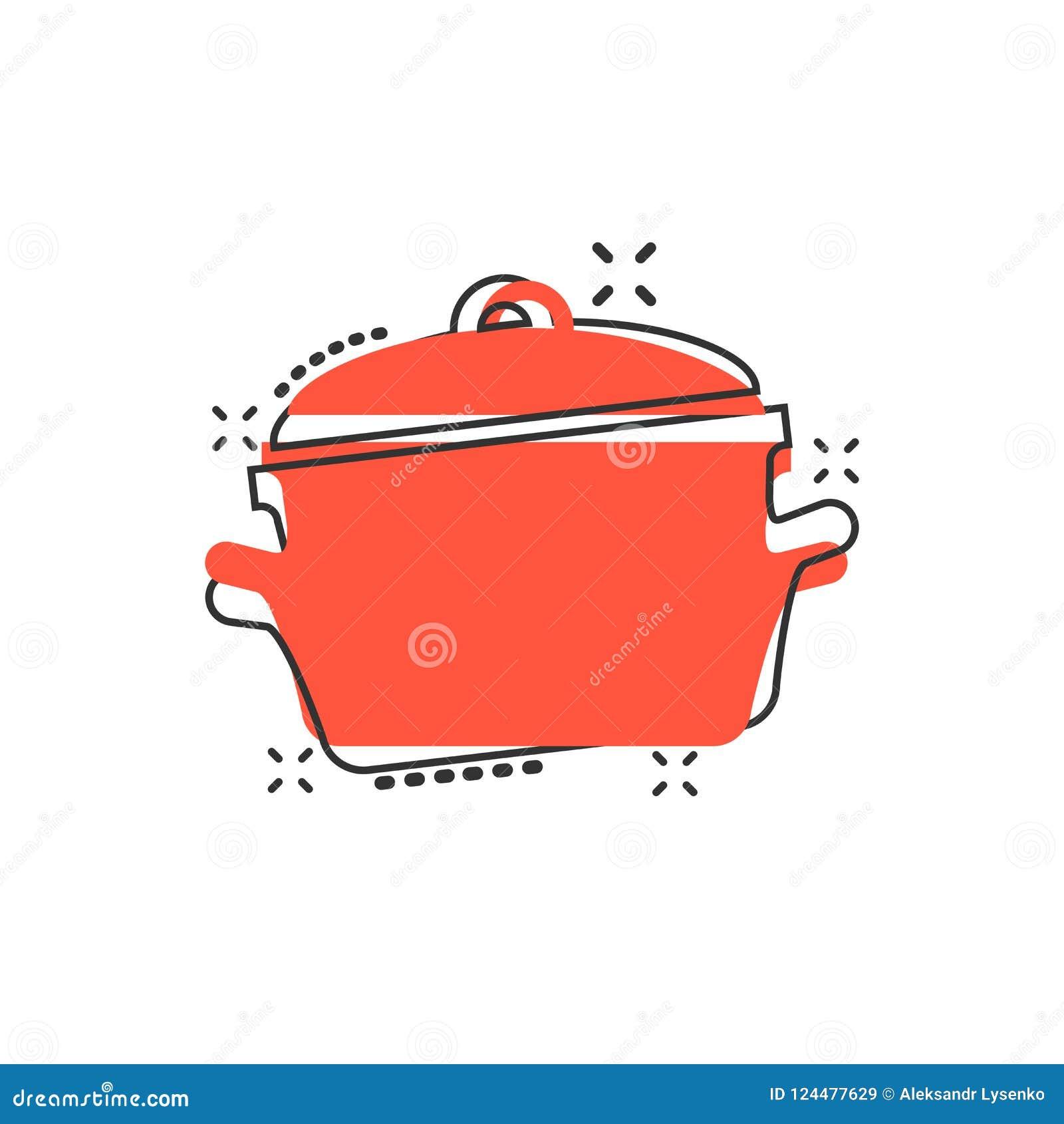 Wektorowej kreskówki niecki kulinarna ikona w komiczka stylu Kuchenny garnek conc
