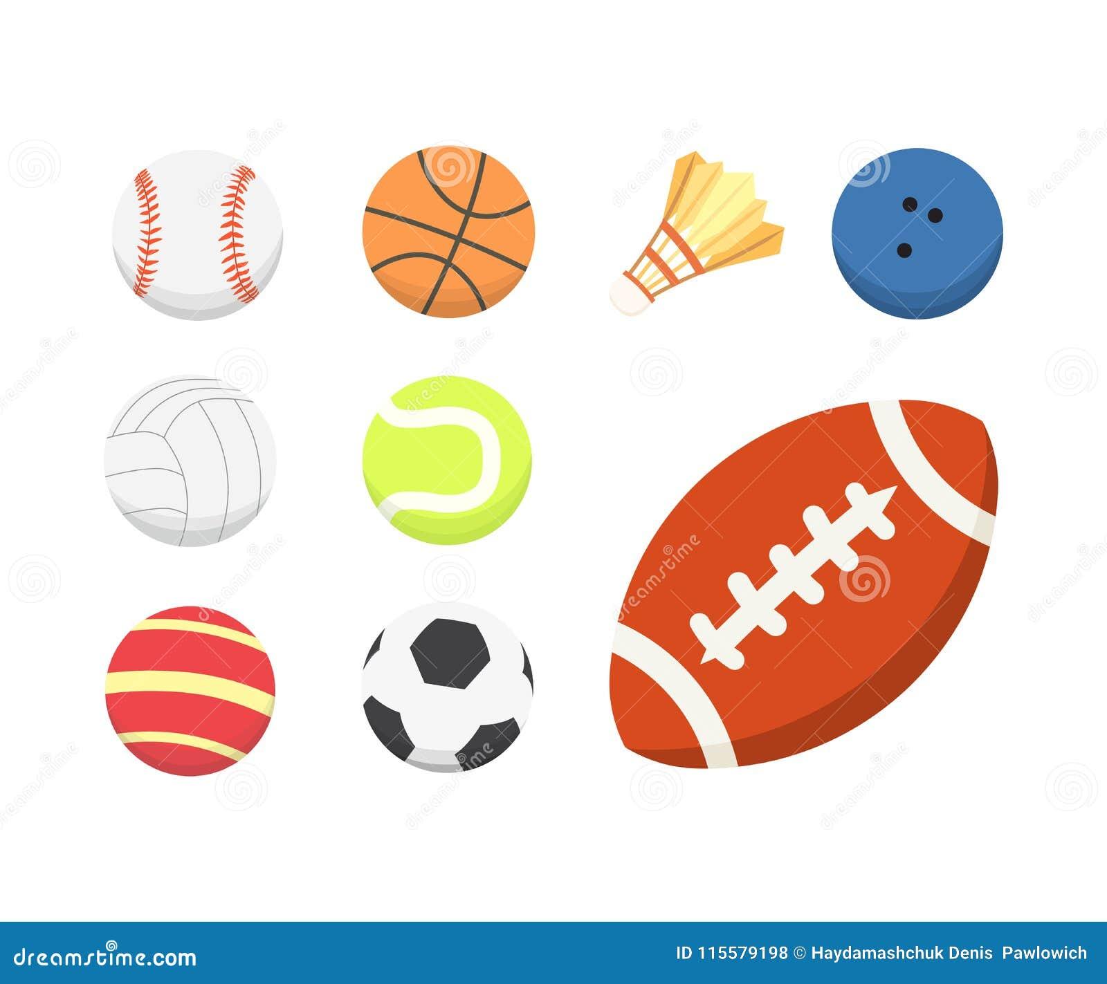 Wektorowej kreskówki piłki kolorowy set sport piłek ikony odizolowywać