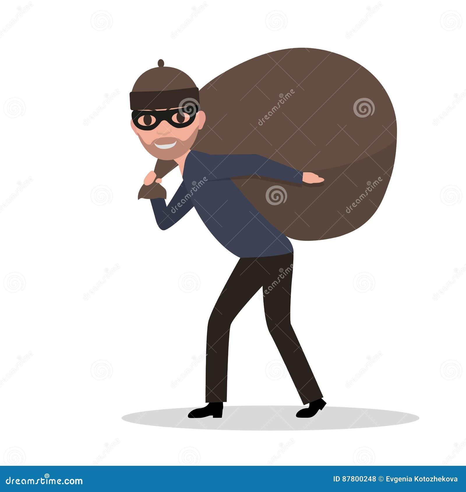 Wektorowej kreskówki złodzieja przewożenia męska torba z szaberem
