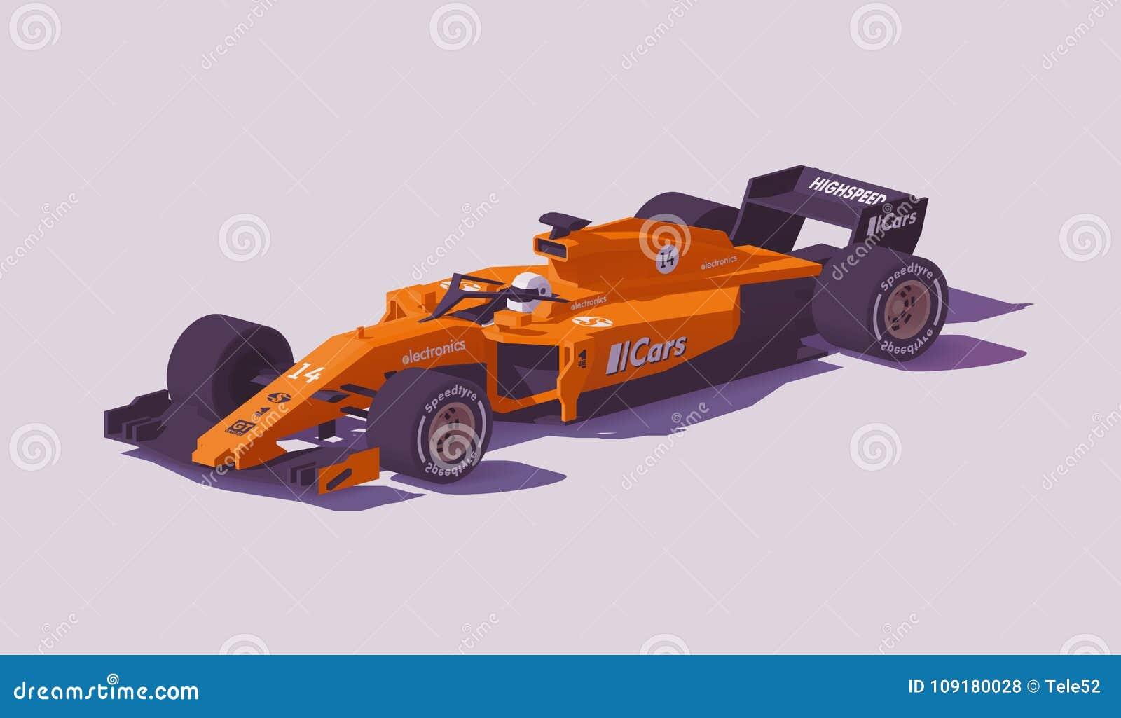 Wektorowej niskiej poli- formuły bieżny samochód