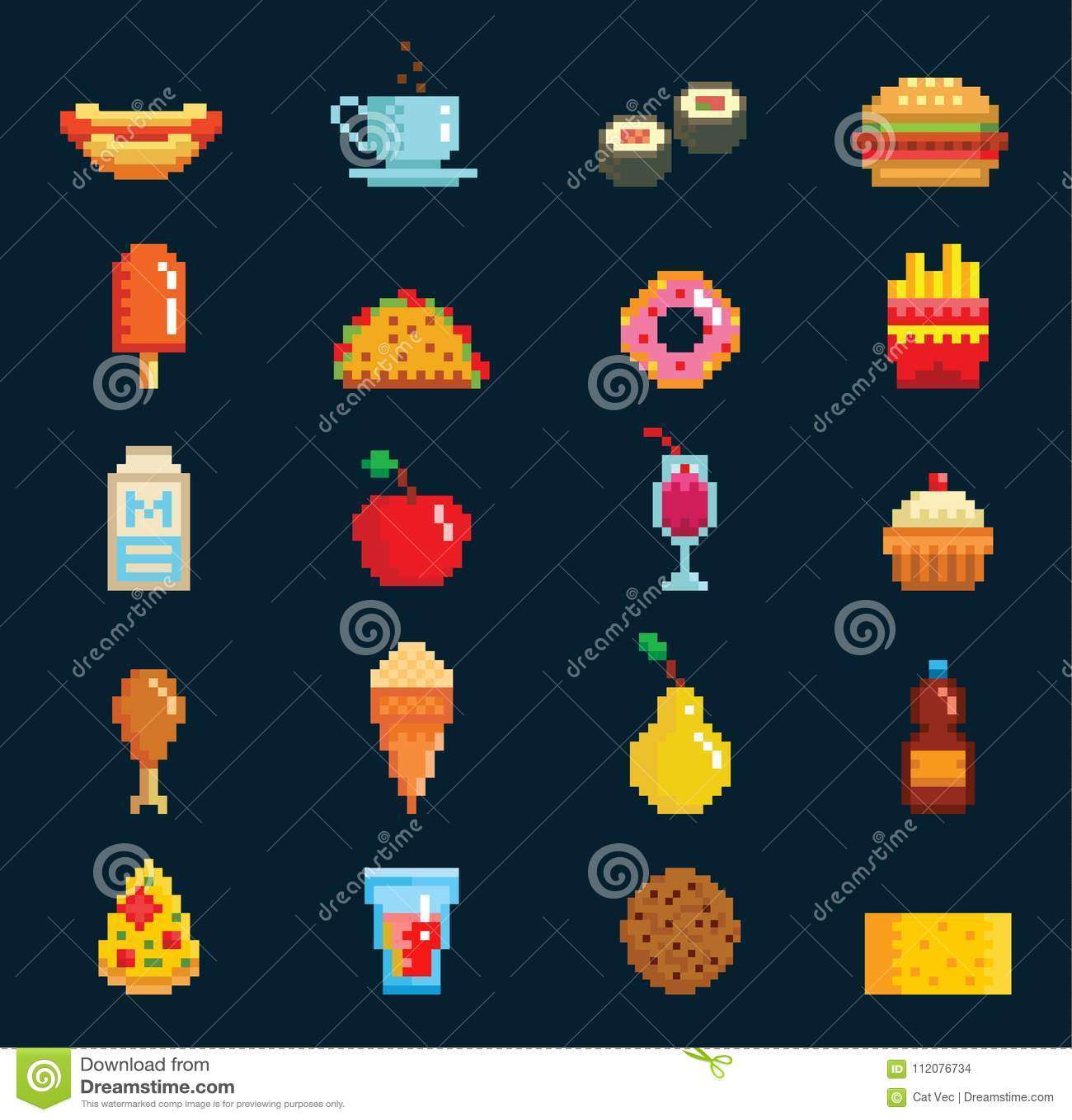 Wektorowej Pixelart Fasta Food Ikon Gry Komputerowej