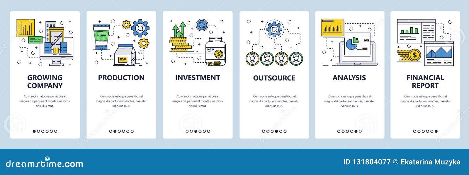 Wektorowej strony internetowej liniowej sztuki ekranów onboarding szablon Biznesu i pieniądze inwestycja  menu