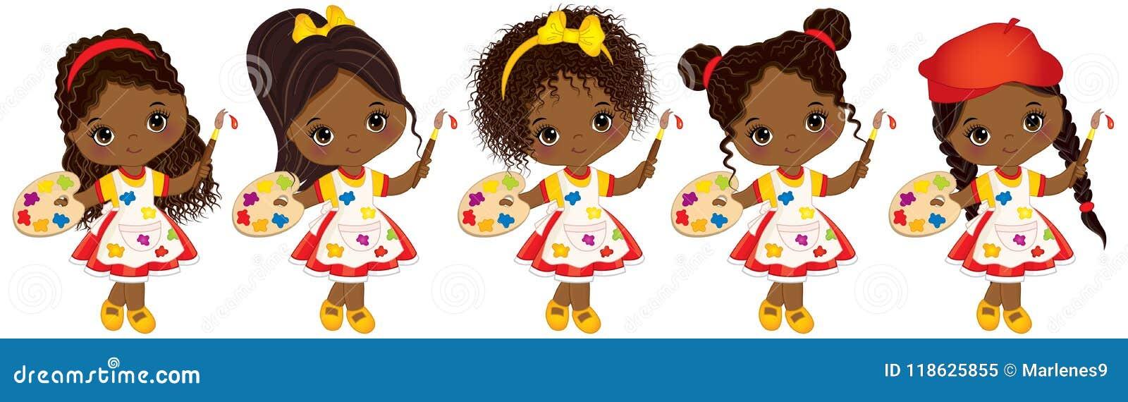 Wektorowi śliczni Mali amerykan afrykańskiego pochodzenia artyści z palet i farb muśnięć amerykanina afrykańskiego pochodzenia We