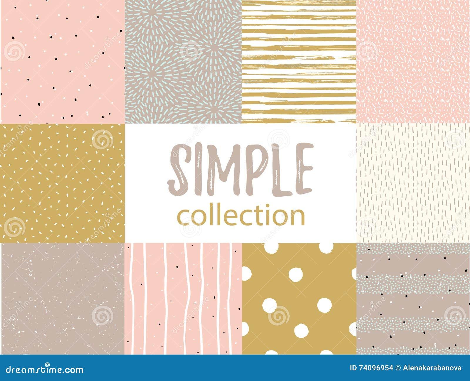 Wektorowi bezszwowi wzory z ogólnoludzkimi prostymi teksturami Ustawia dla tkaniny, prezenta opakunku i tapety,