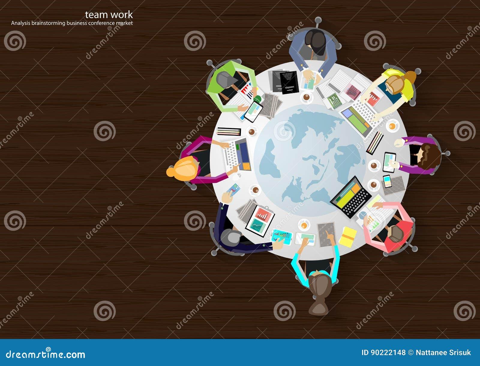 Wektorowi biznesowi miejsca pracy, praca zespołowa, brainstorming, biznesowa analiza, marketingowy plan, mapa świat, papierowi se