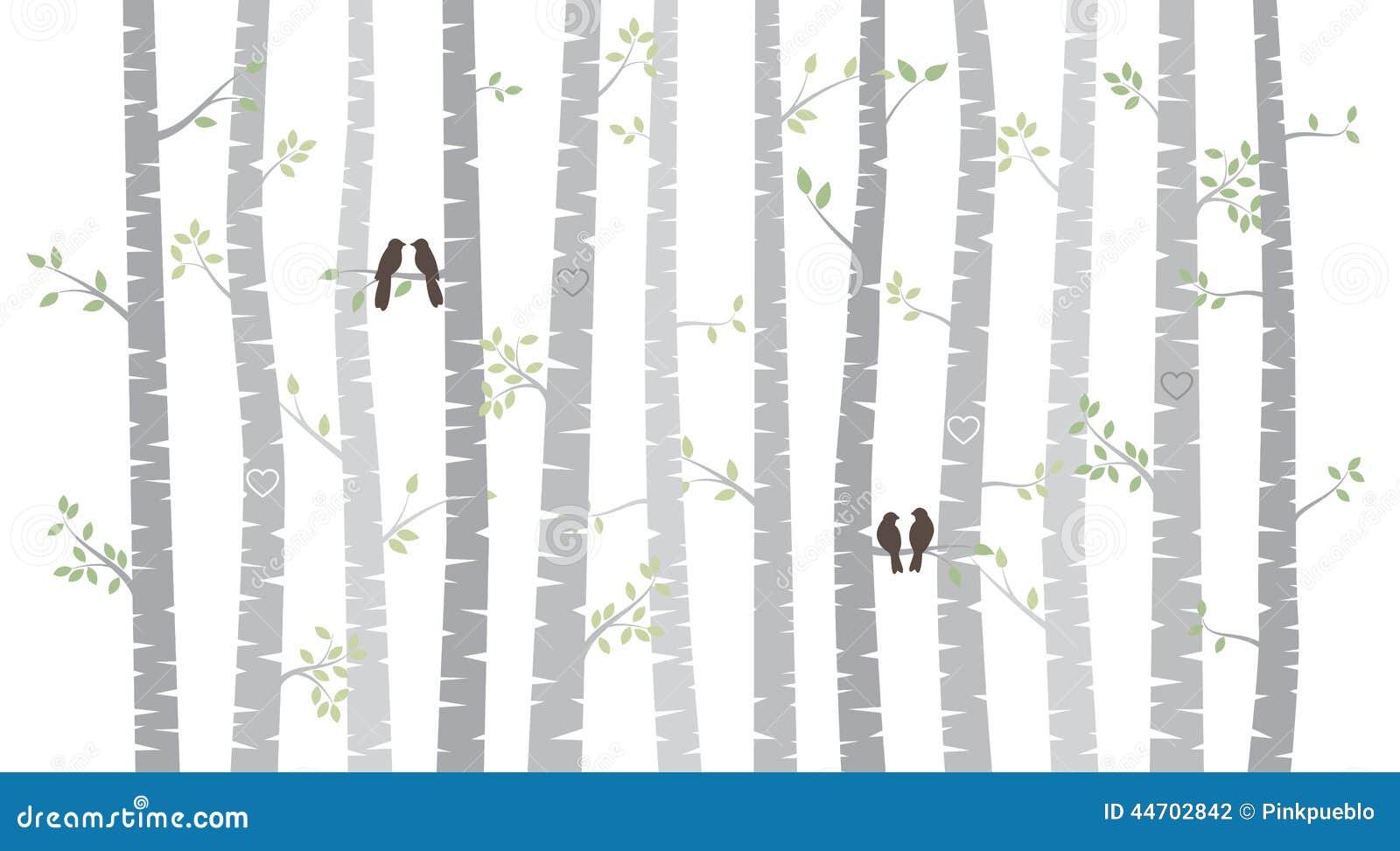 Wektorowi brzozy, osiki drzewa z lub