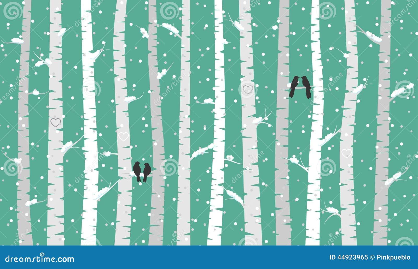 Wektorowi brzozy, osiki drzewa z ptakami lub