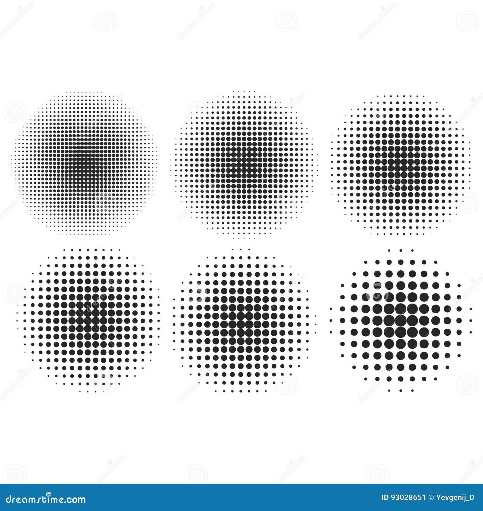 Wektorowi halftone skutki ustawiający Monochrom kropki w okręgach