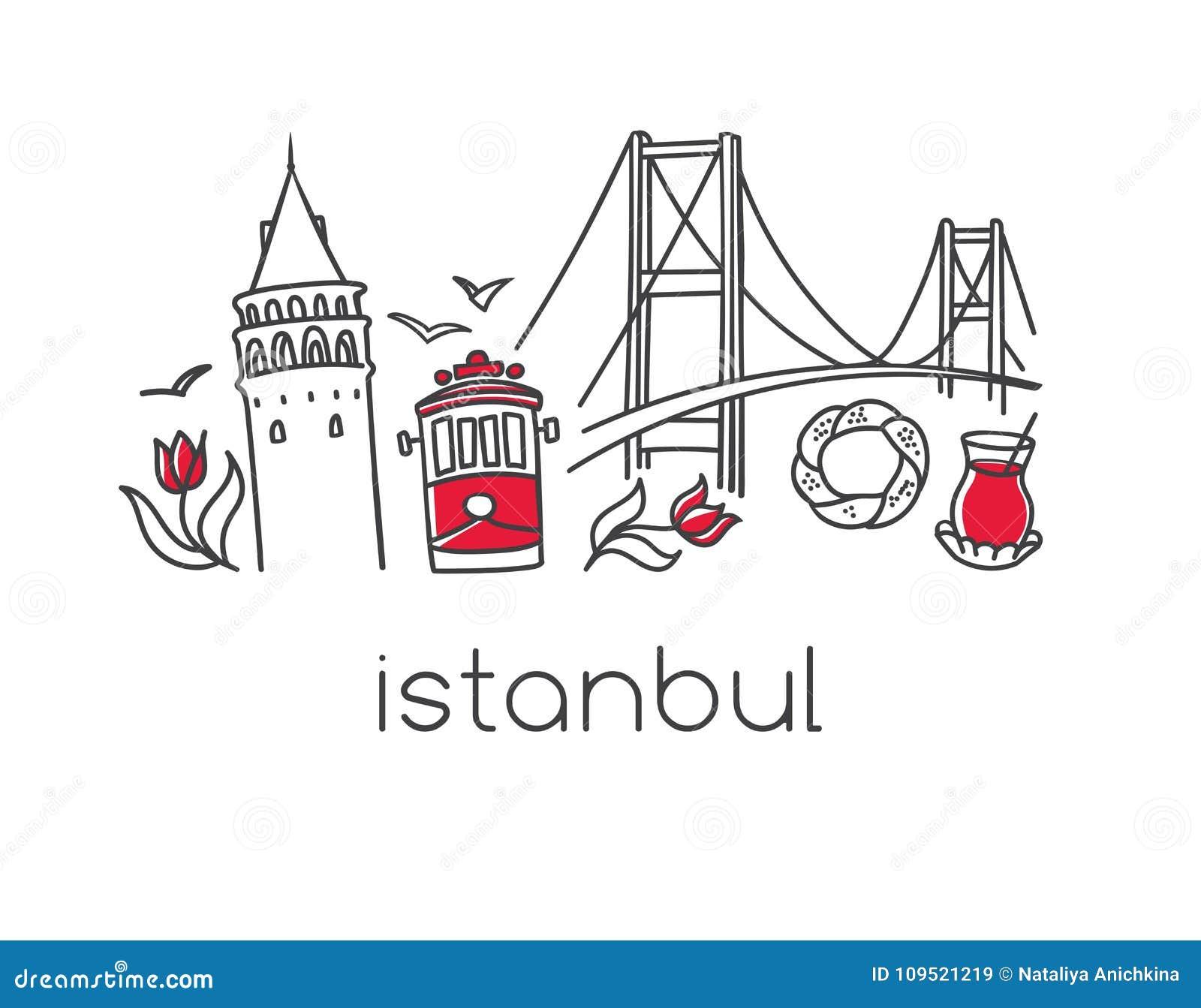 Wektorowi ilustracyjni witj Istanbuł symbole górują, tramwaj, most