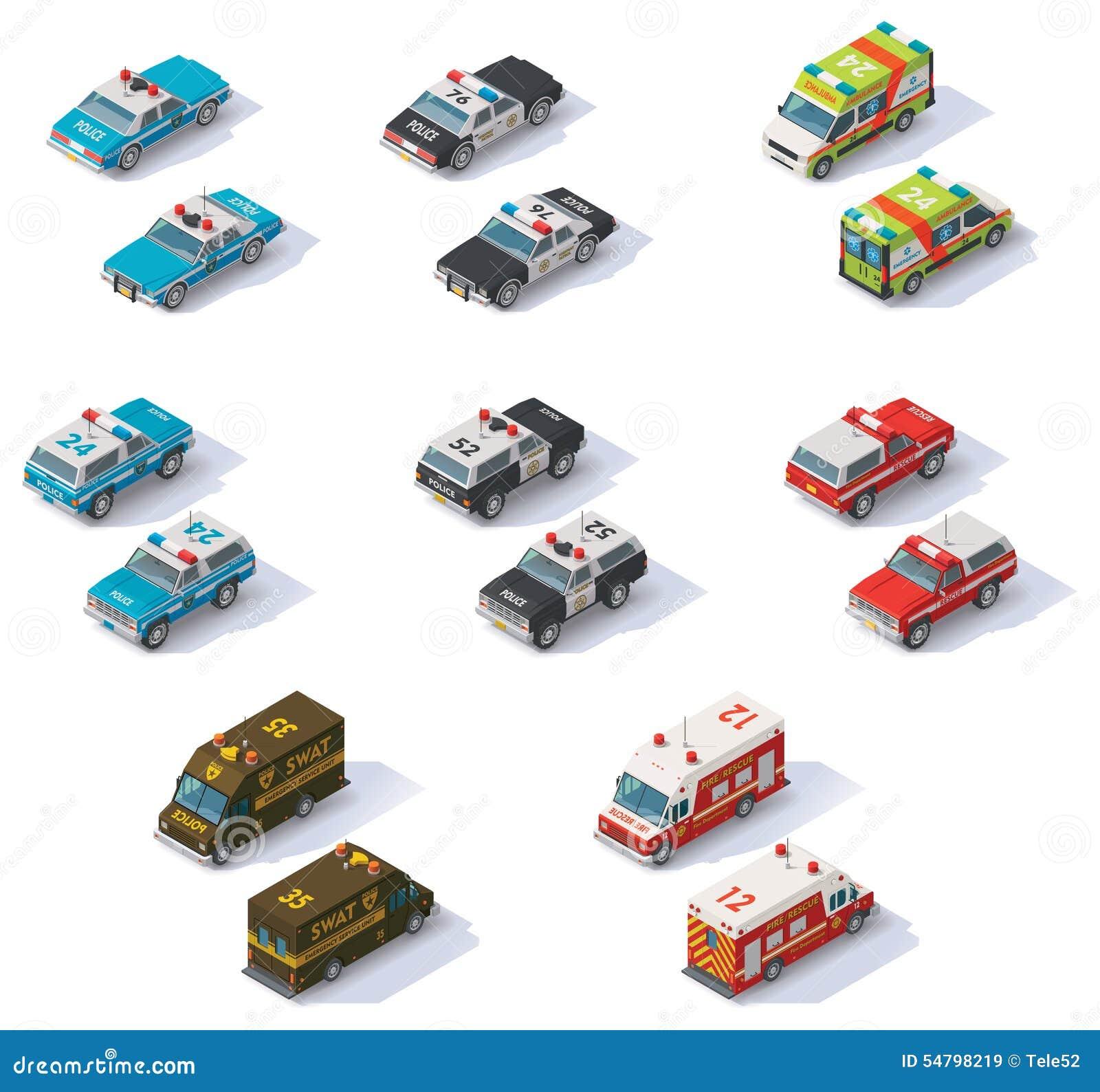 Wektorowi isometric słóżba ratownicza samochody ustawiający