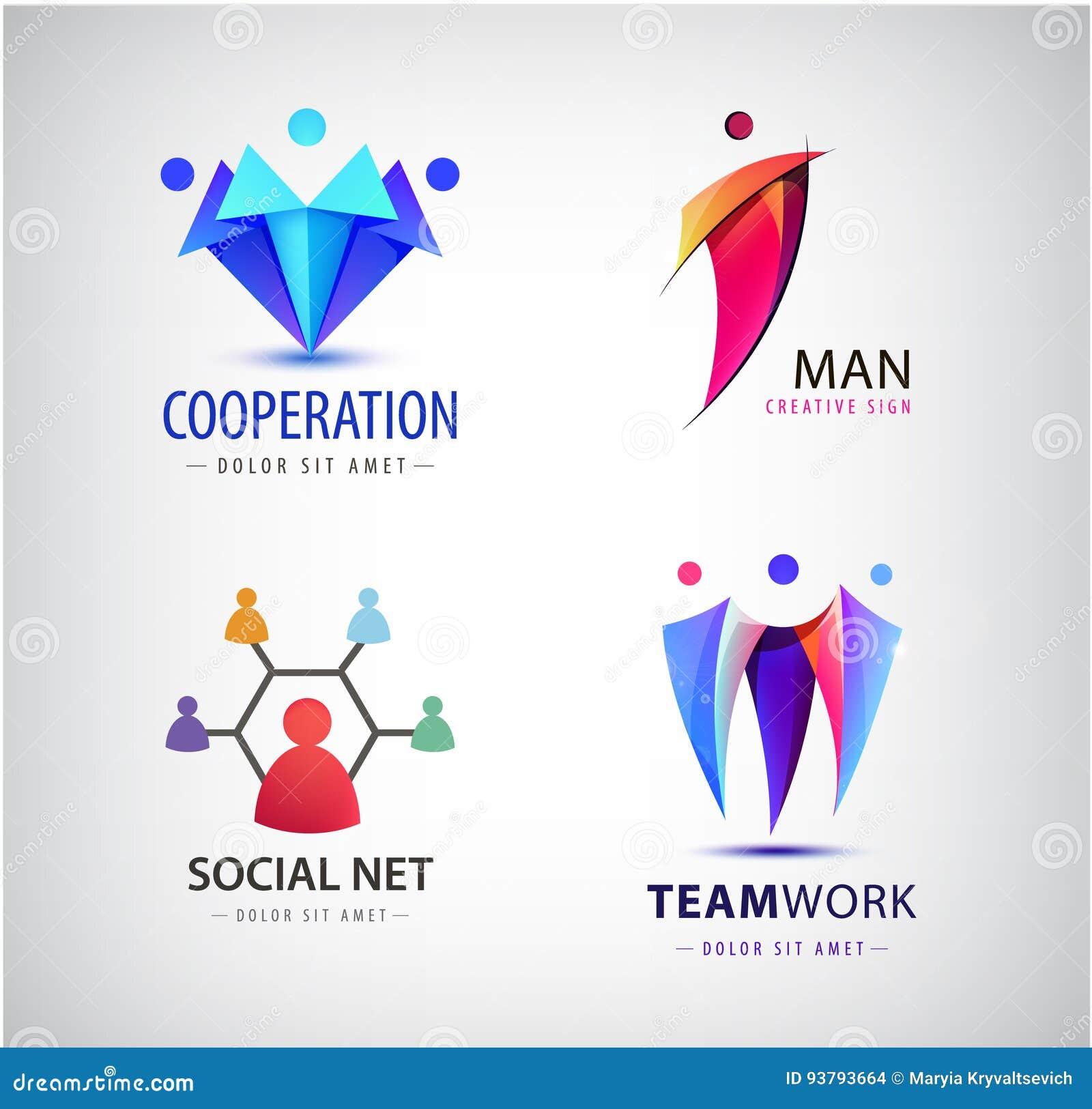 Wektorowi mężczyzna grupowy logo, istota ludzka, rodzina, praca zespołowa, socjalny sieć, lider ikona Społeczność, ludzie podpisu