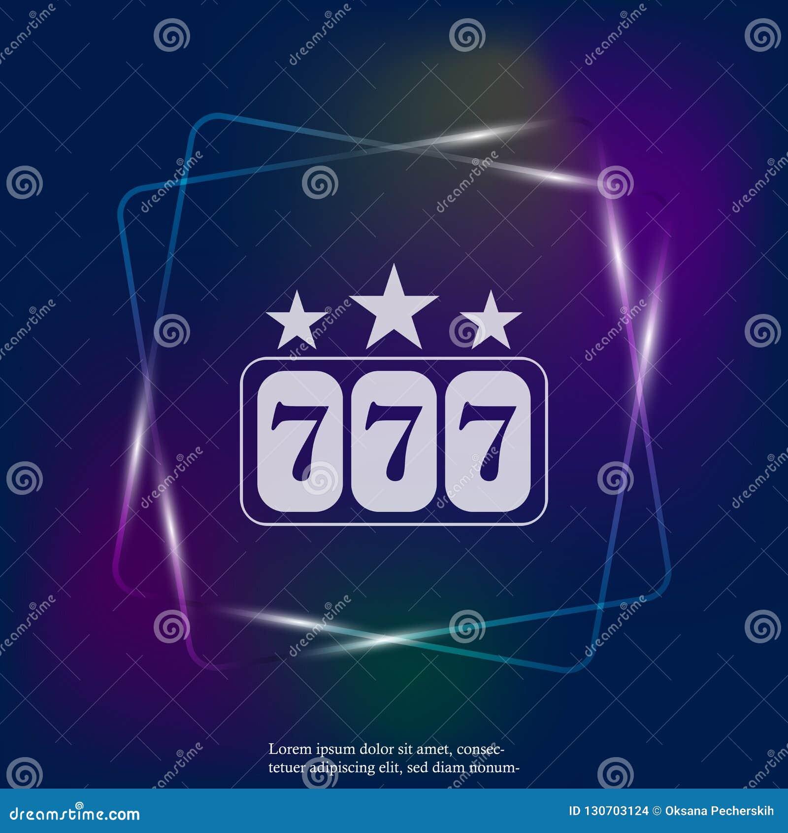 Wektorowi neonowego światła ikony wygrania w kasynie Najwyższej wygrany ikona 777