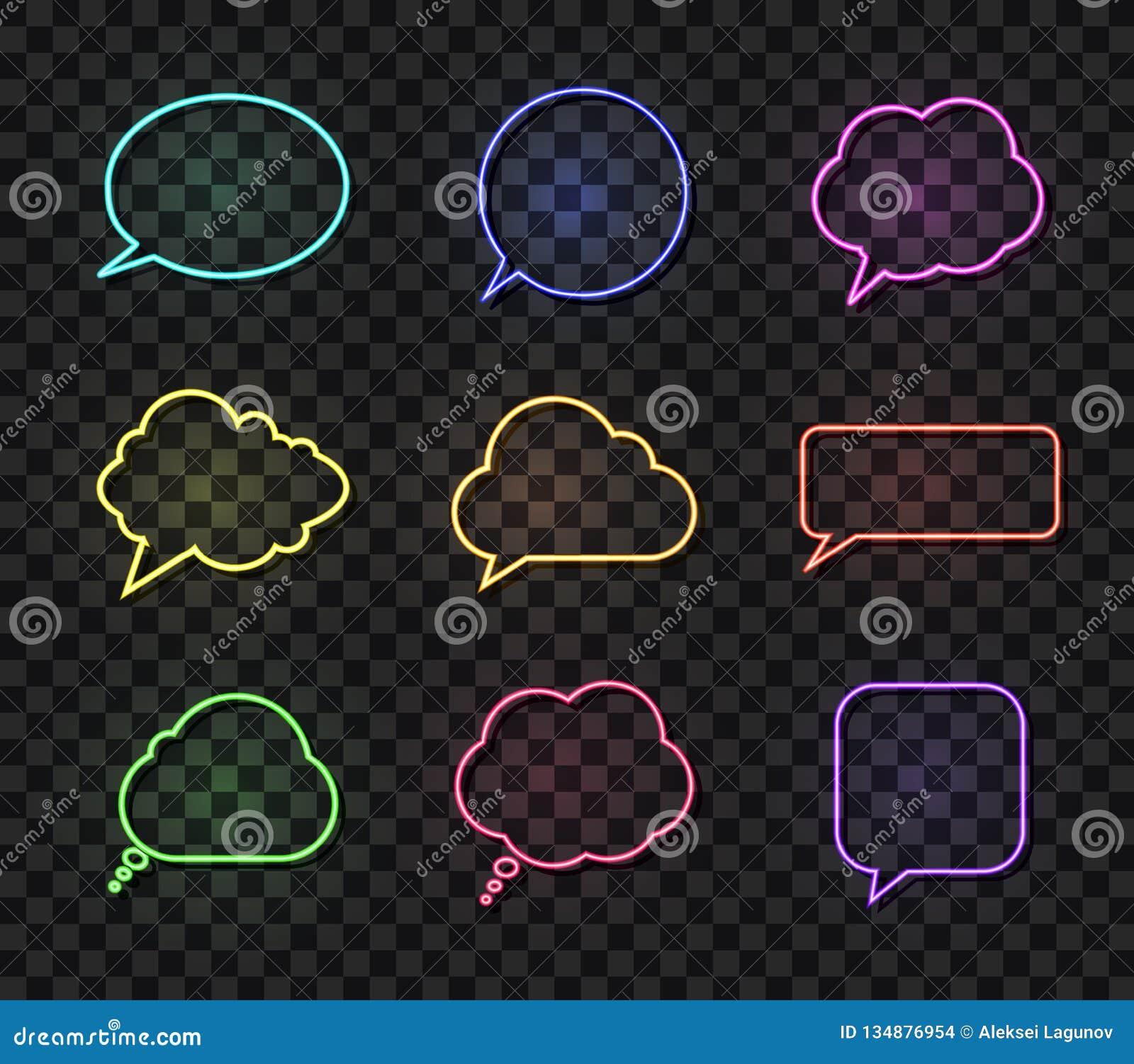 Wektorowi Neonowi rozmowa bąble Ustawiający, Różni kolor mowy pudełka, projektów elementów kolekcja, Odizolowywająca