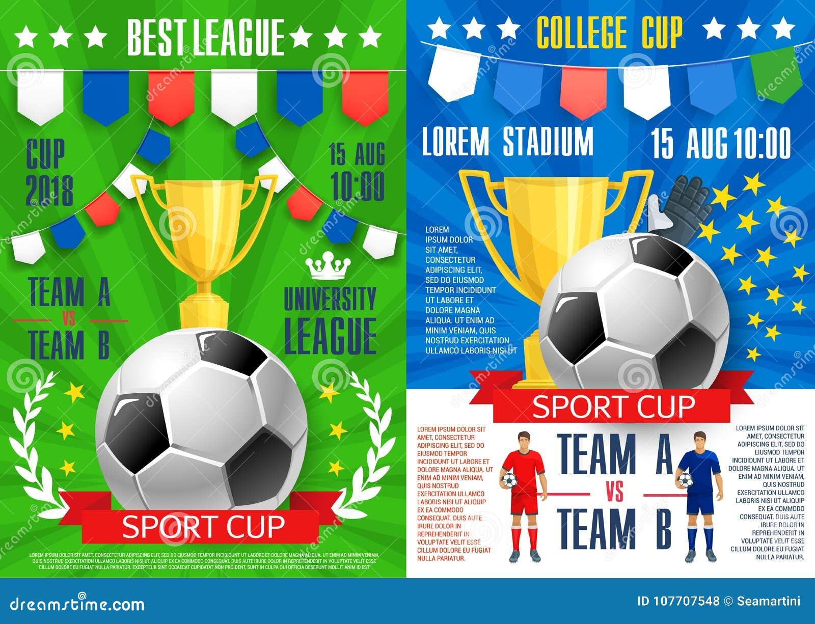 Wektorowi Plakaty Dla Piłka Nożna Sporta Meczu Futbolowego