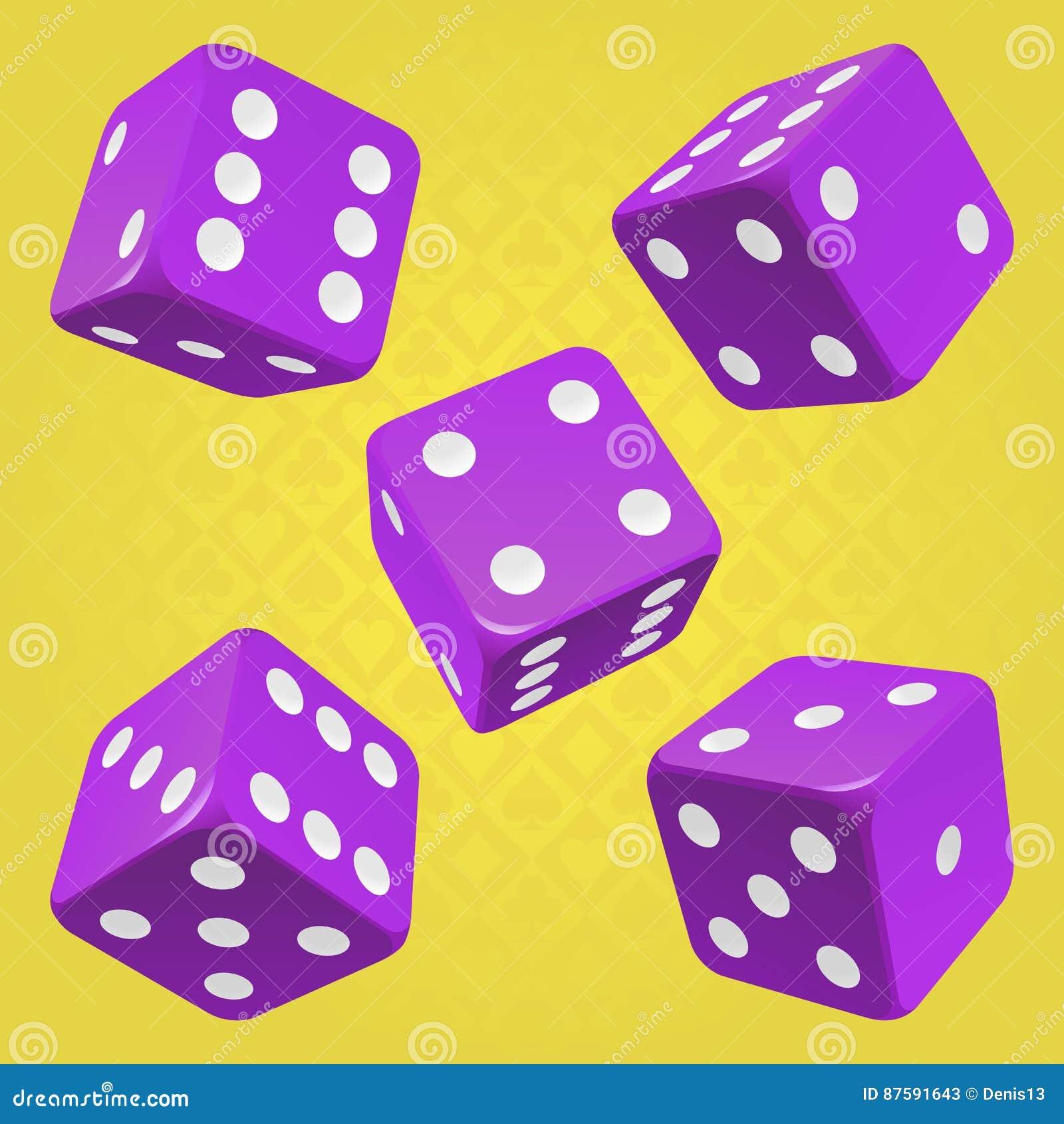 Wektorowi purpurowi kostka do gry ustawiający