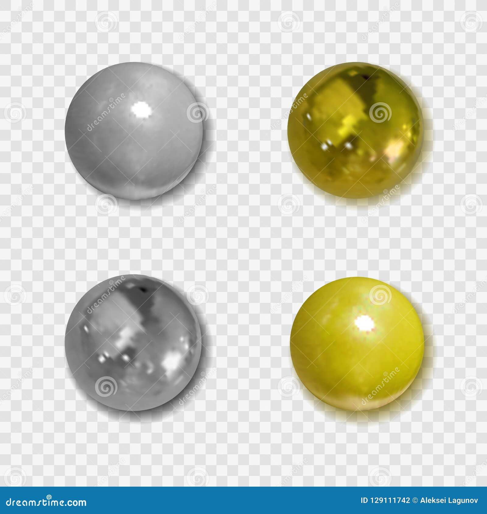 Wektorowi Realistyczni Złoci i Srebni guziki z cieniami na Przejrzystym tle, Kruszcowe piłki