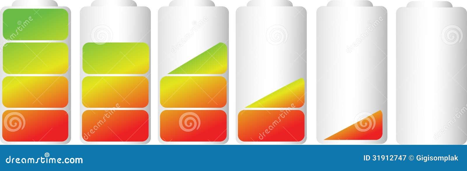 Wektorowi symbole bateryjny równy wskaźnik