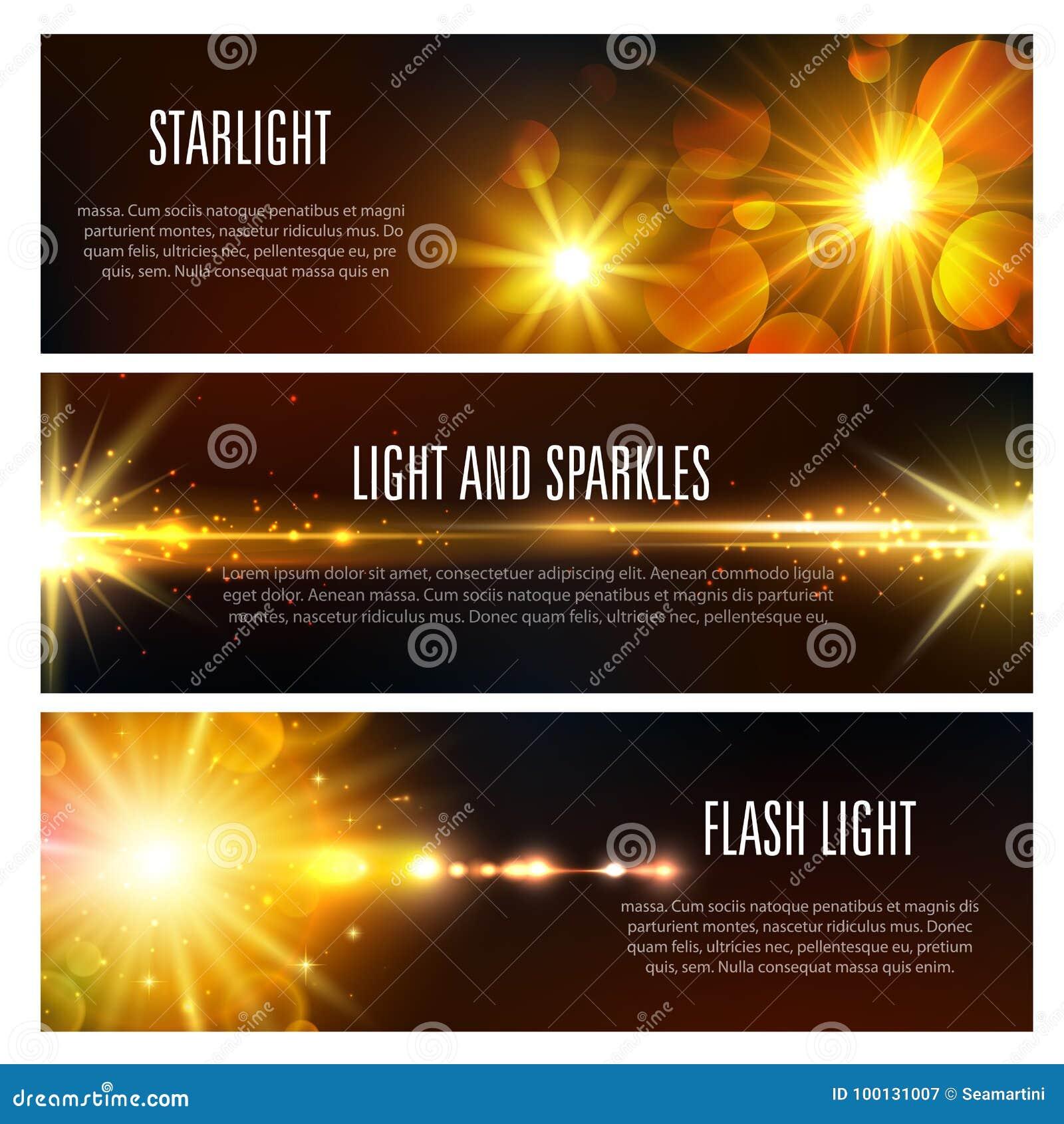 Wektorowi sztandary światło błysną skutek i błyskają