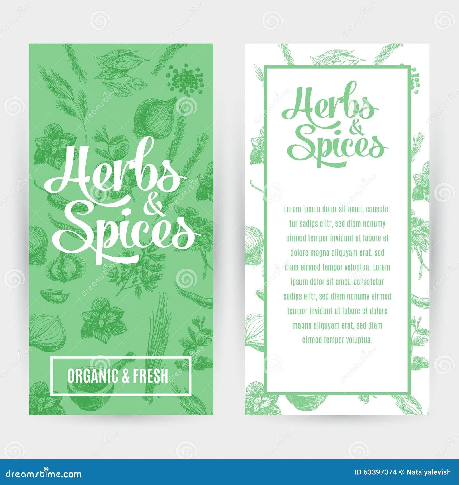 Wektorowi sztandary ustawiający z ręki rysującymi ziele i