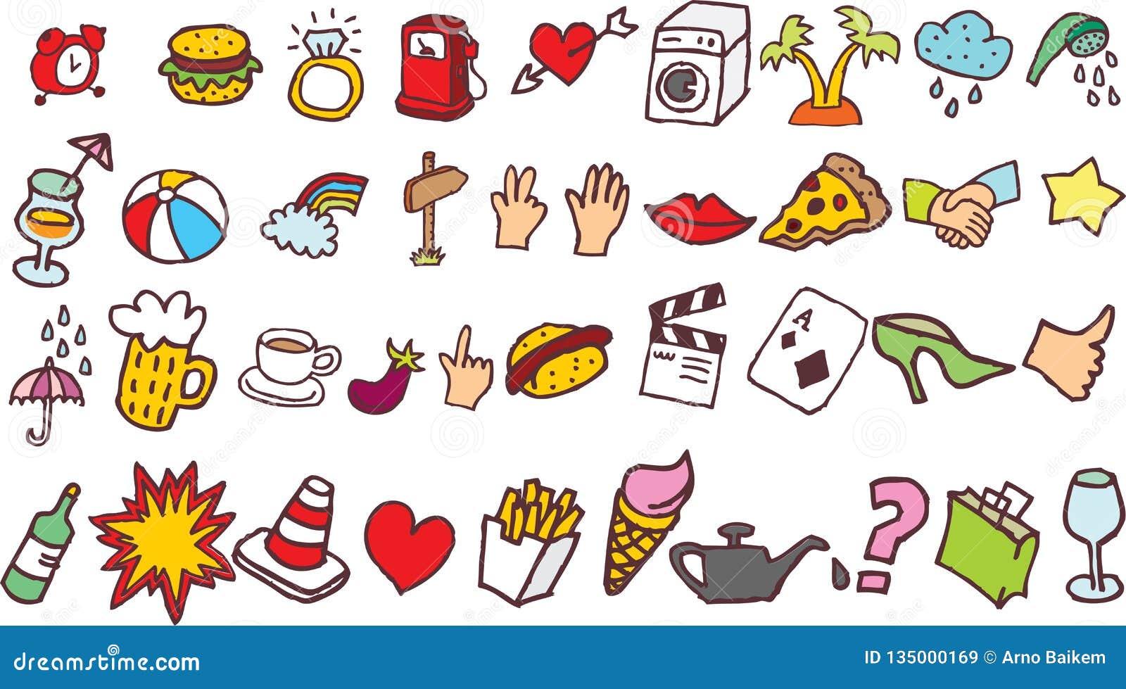 Wektorowi wizerunki Doodles zawierający przedmioty i foodon Biały Blackground