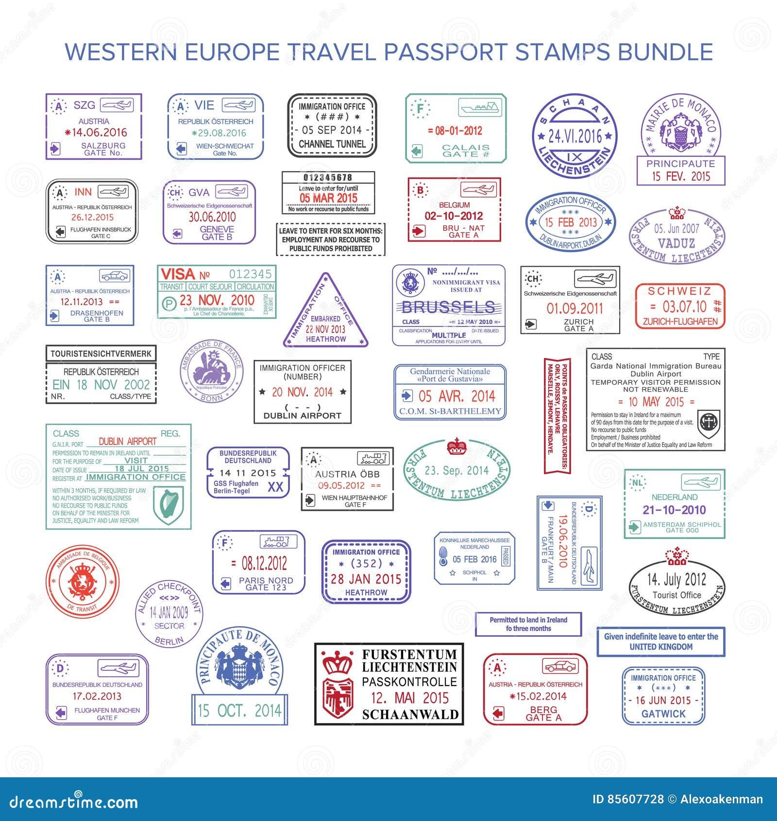 Wektorowi zachodniej europy colour podróży wizy znaczki ustawiający