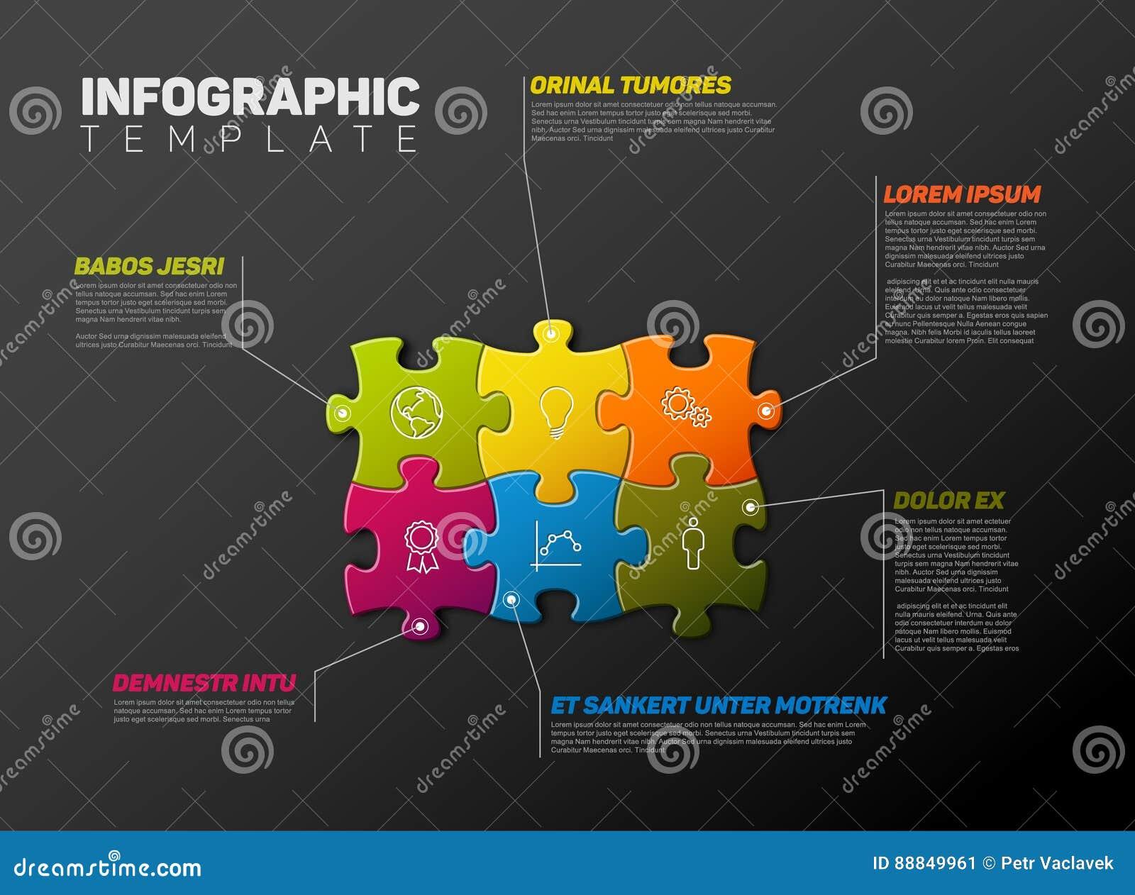 Wektorowy łamigłówki Infographic raportu szablon