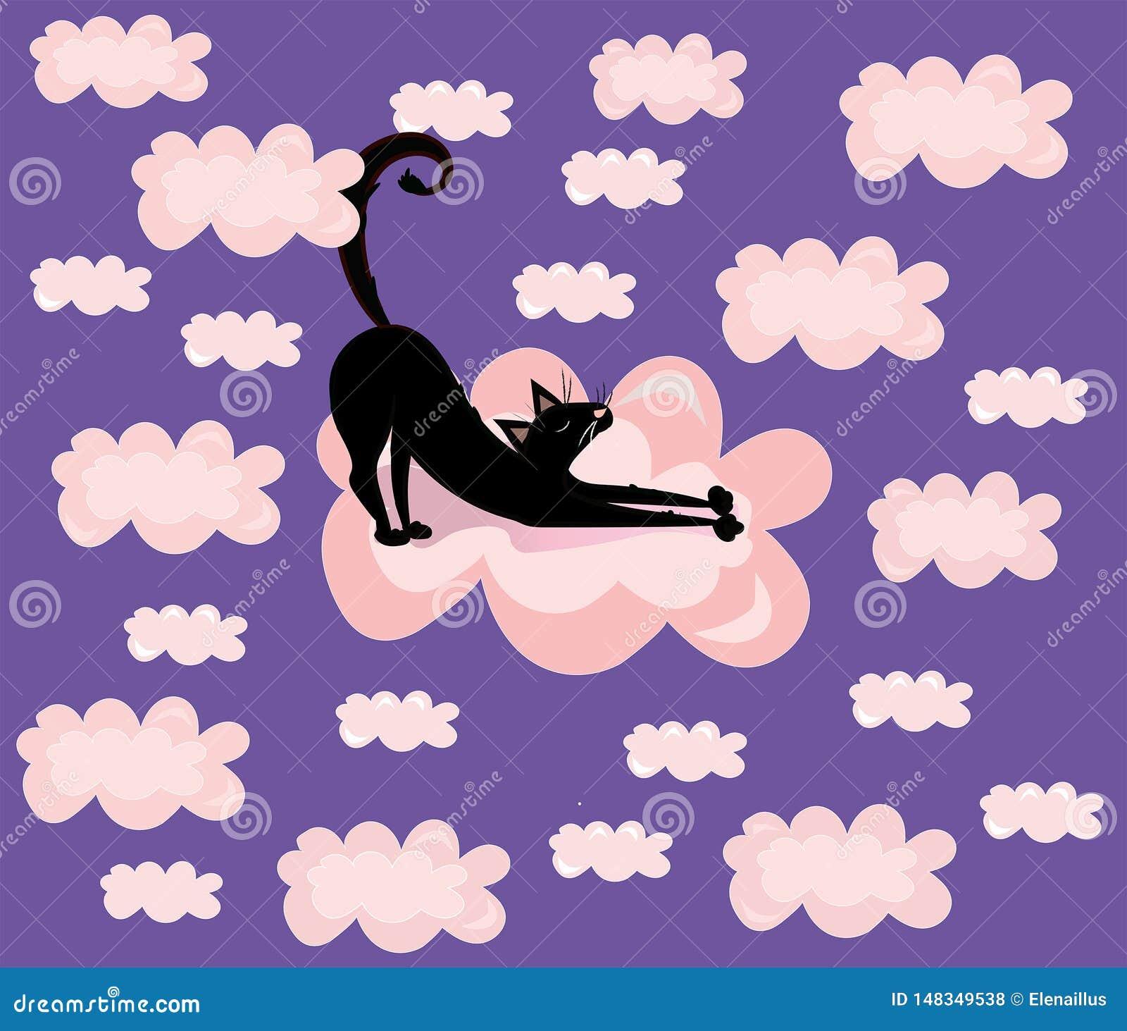 Wektorowy śliczny, śmieszny, kreskówki ilustracja, druk z czarnym kotem w menchiach chmurnieje fiołkowego tło