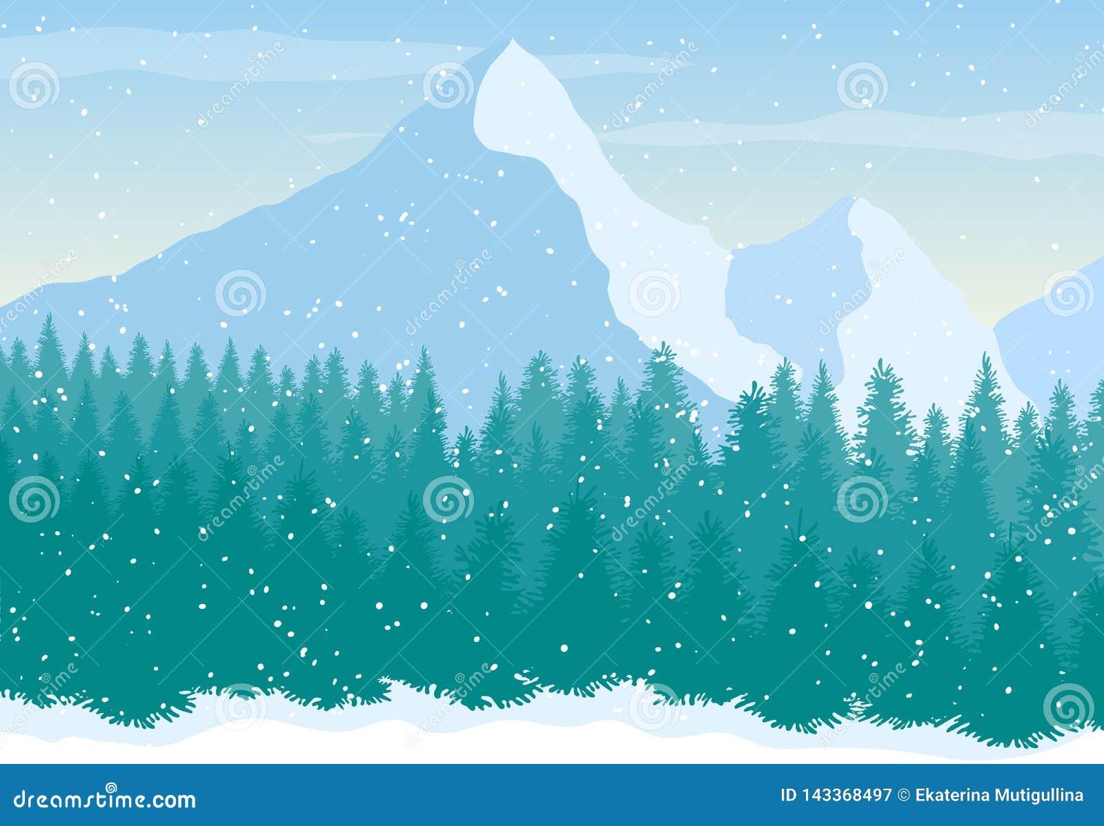 Wektorowy śnieżny góra krajobraz z sosnowym lasem