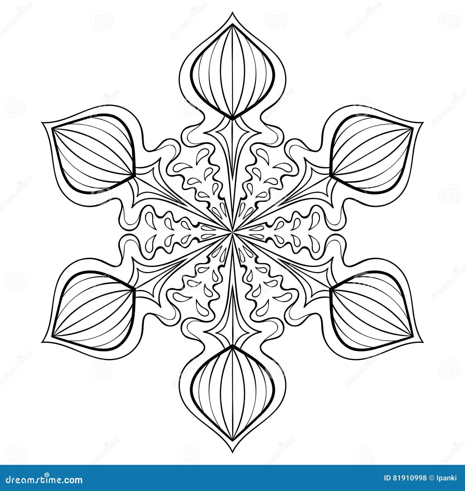 Wektorowy śnieżny płatek w zentangle stylu, doodle mandala dla dorosłego c
